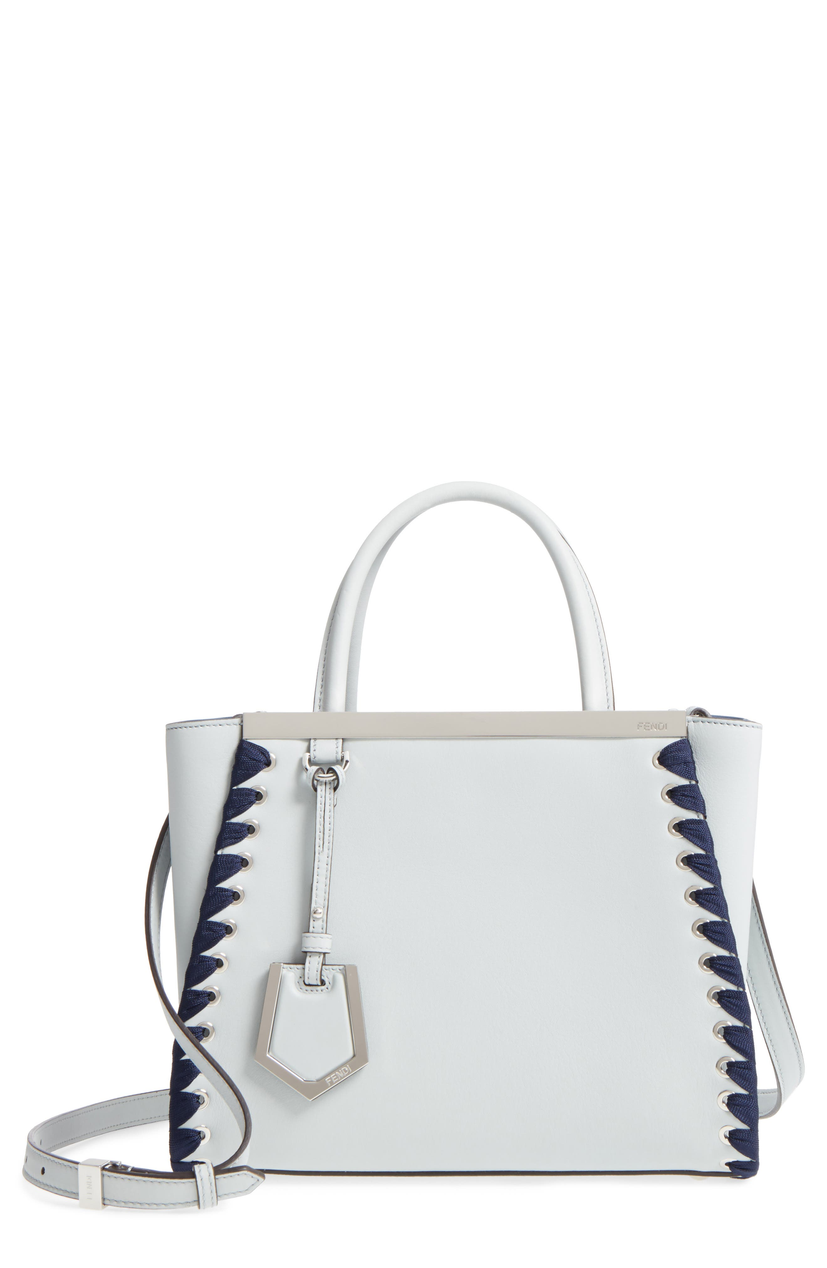 Petite 2Jours Whipstich Leather Shopper,                             Main thumbnail 1, color,                             Pearl Grey