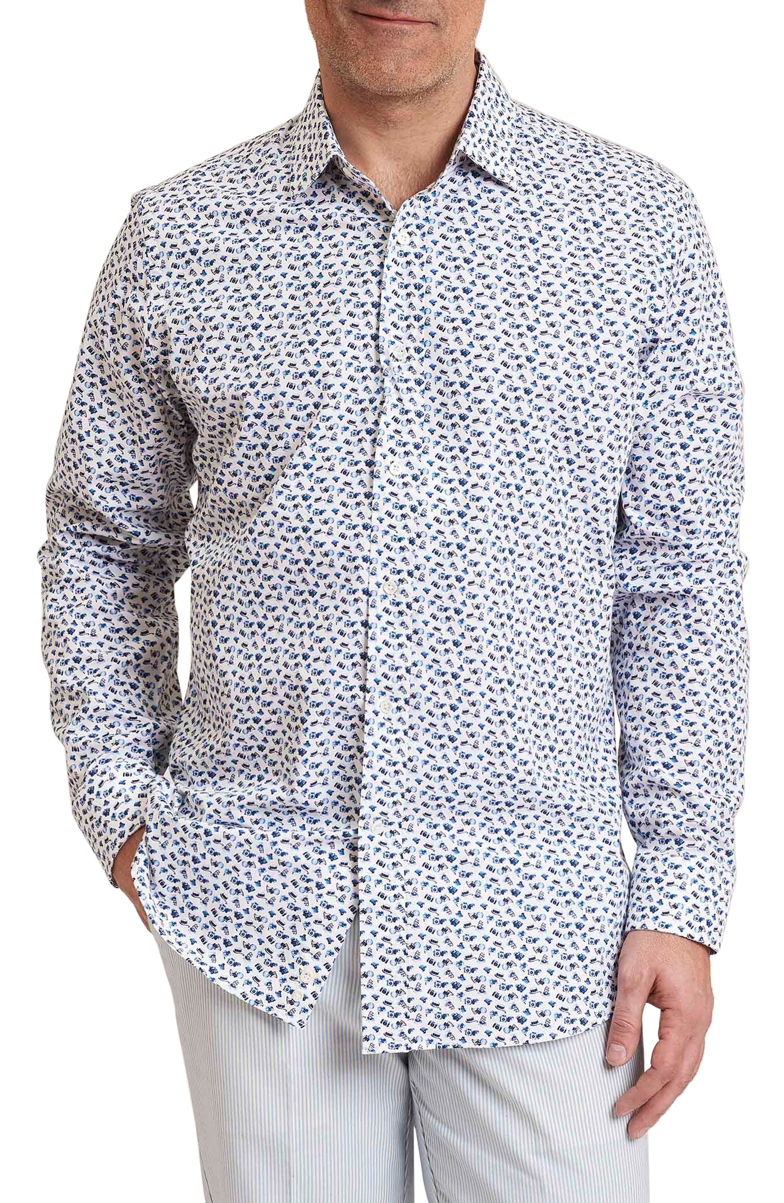 Snapshot Regular Fit Camera Print Sport Shirt,                         Main,                         color, White