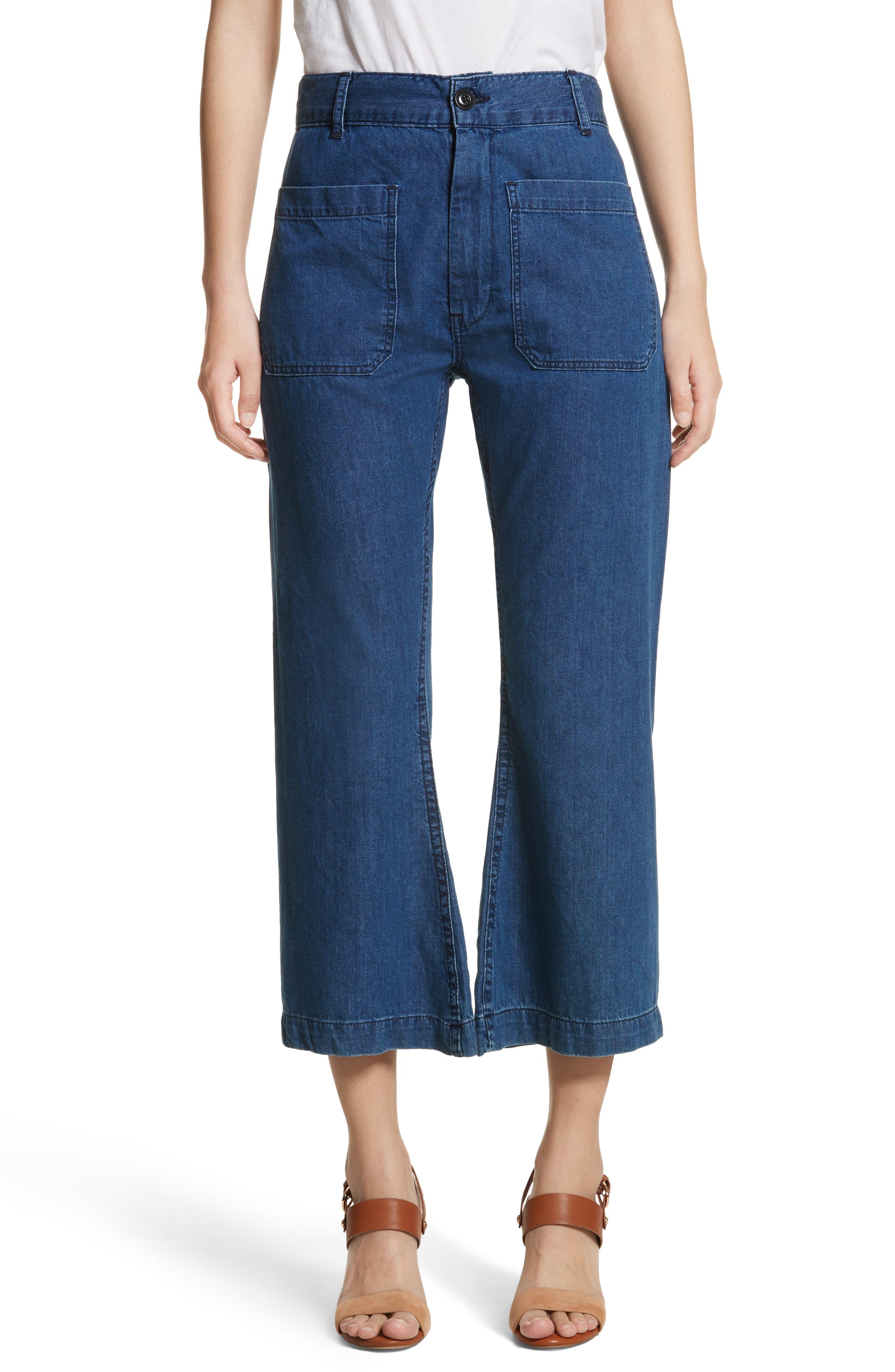 The Slouch Sailor Jeans,                         Main,                         color, Vibrant Blue Wash