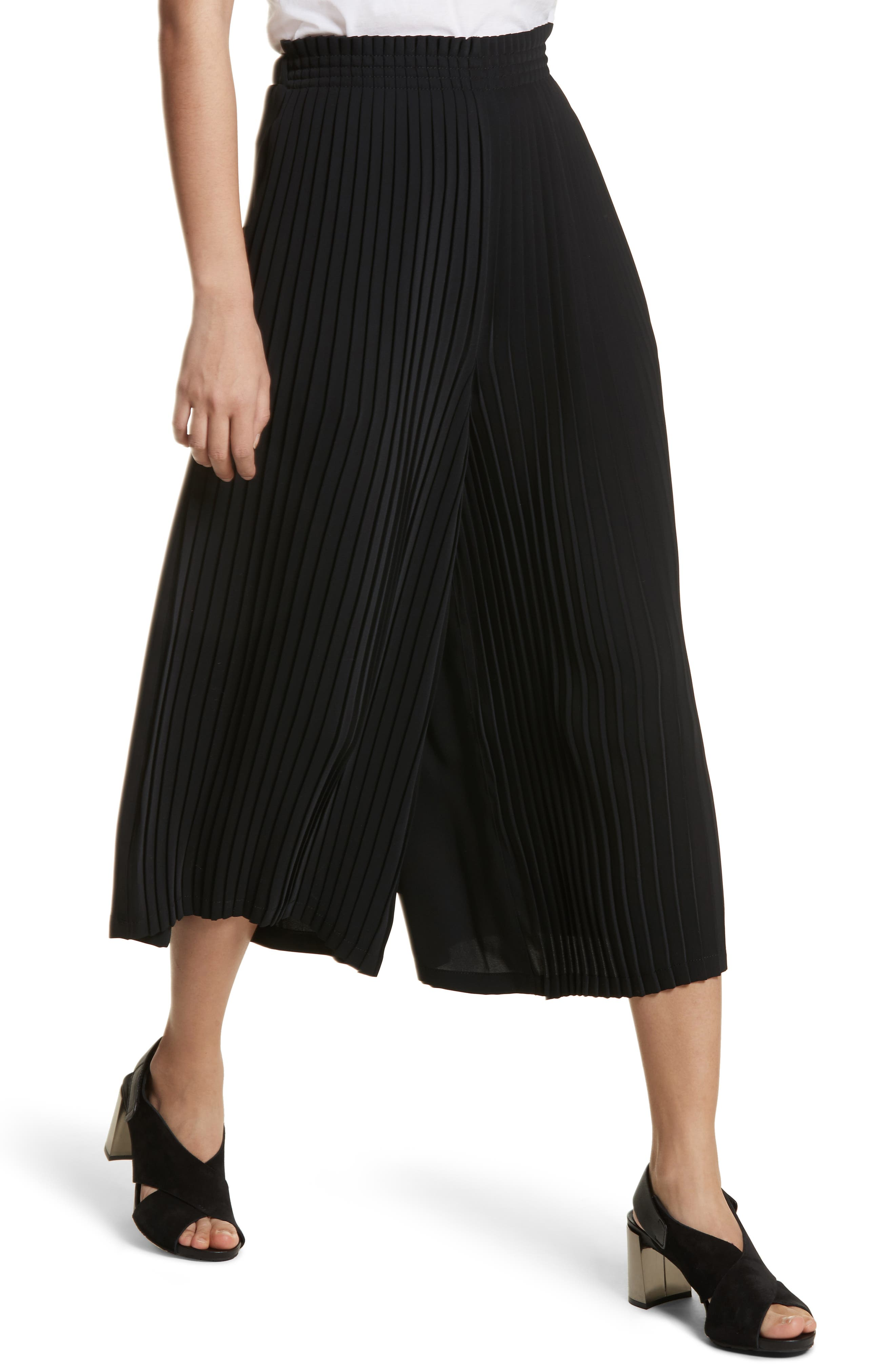 Pleated Crop Pants,                             Alternate thumbnail 4, color,                             Black