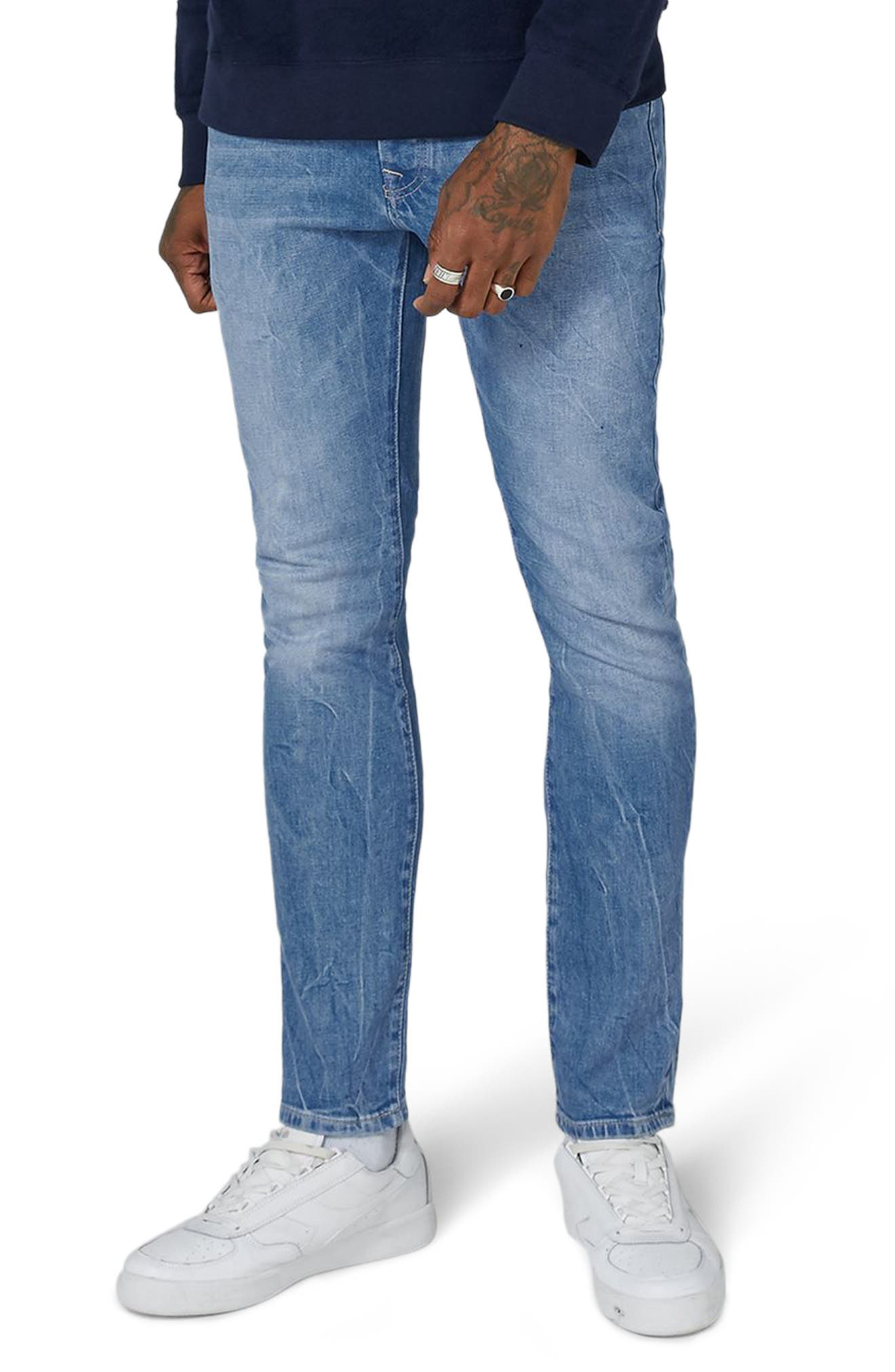 Stretch Slim Leg Jeans,                         Main,                         color, Bright Blue