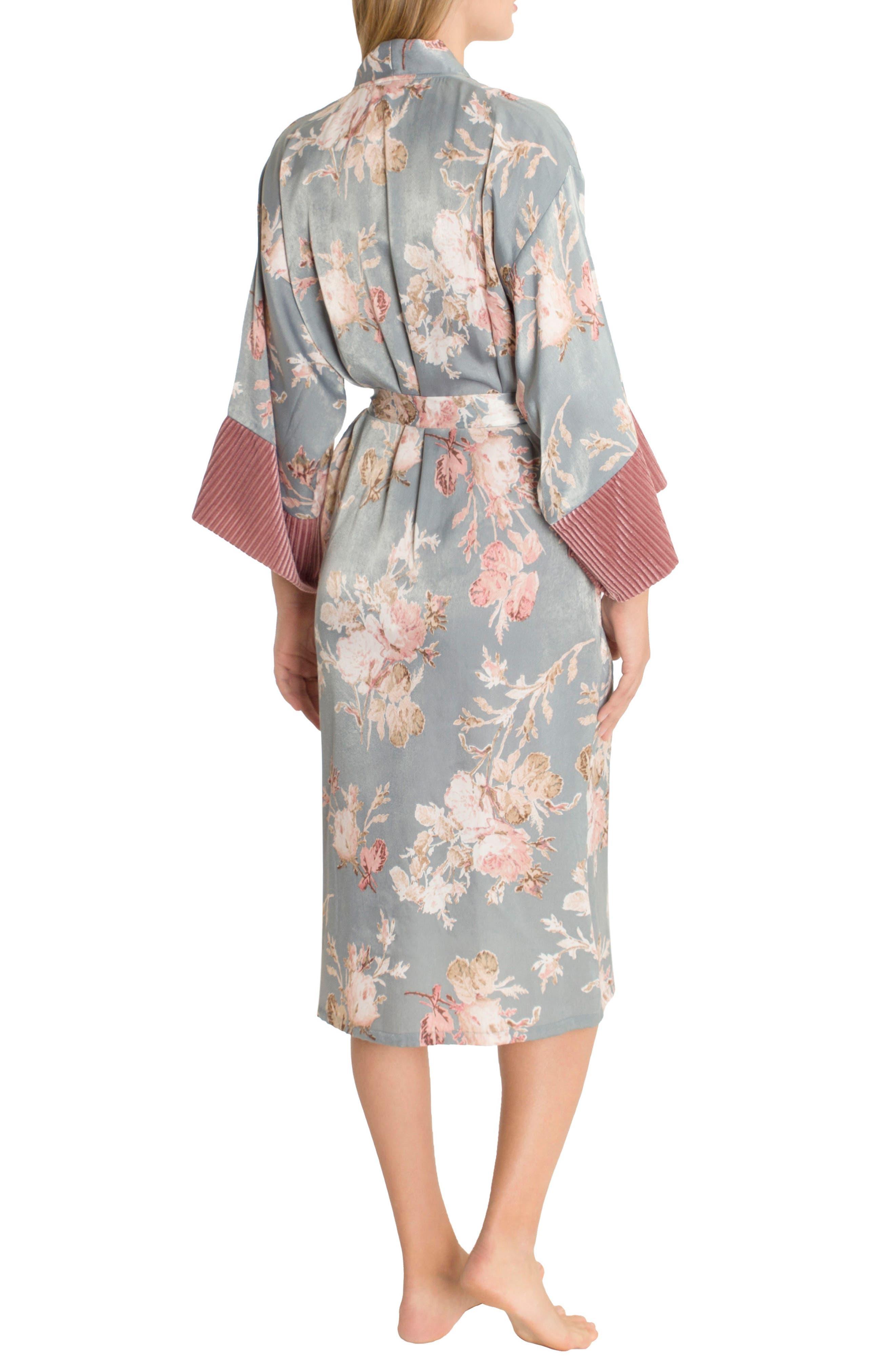 Satin Kimono Robe,                             Alternate thumbnail 2, color,                             Rose Print