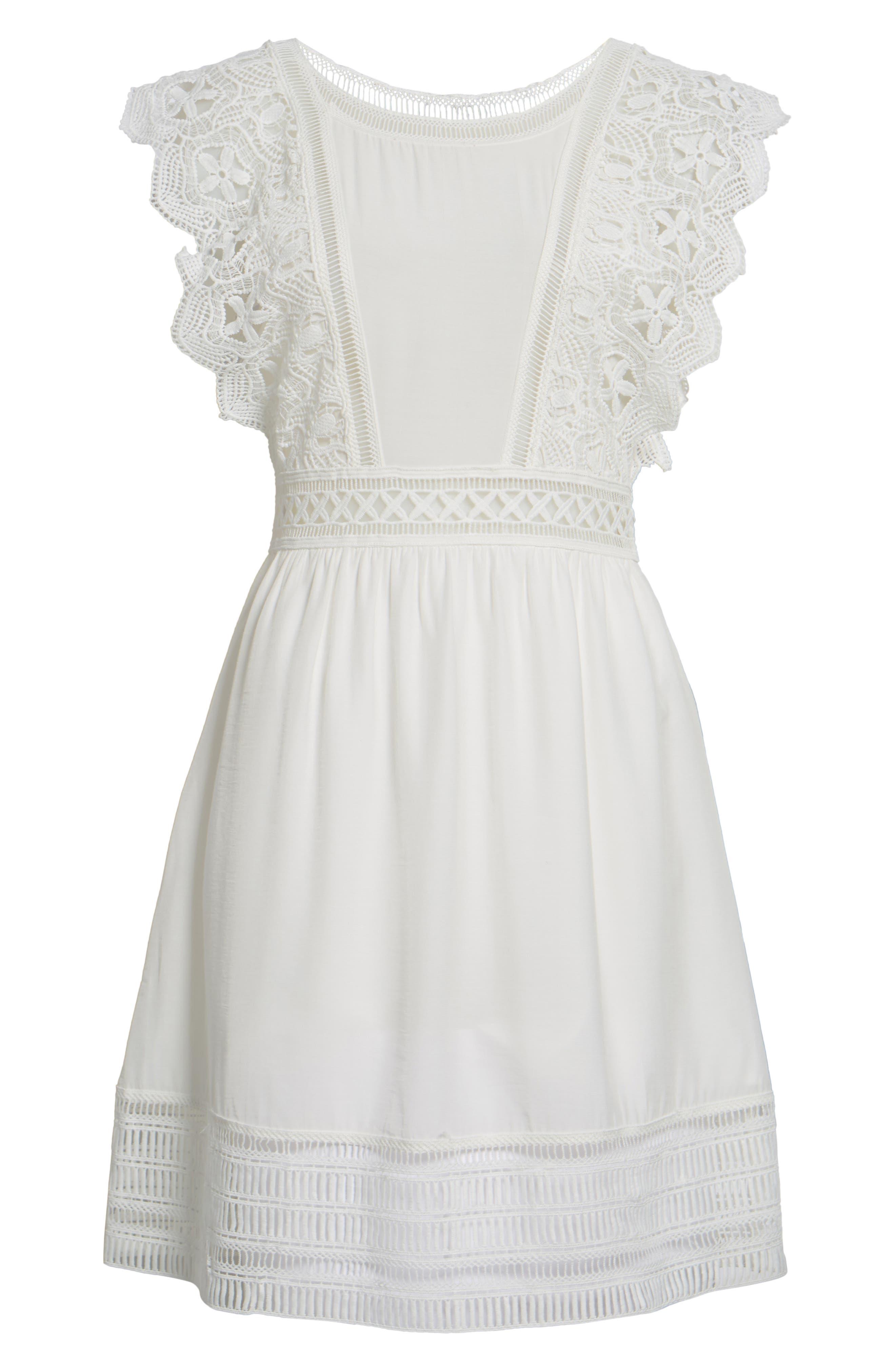 Lace Trim Babydoll Dress,                             Alternate thumbnail 6, color,                             White