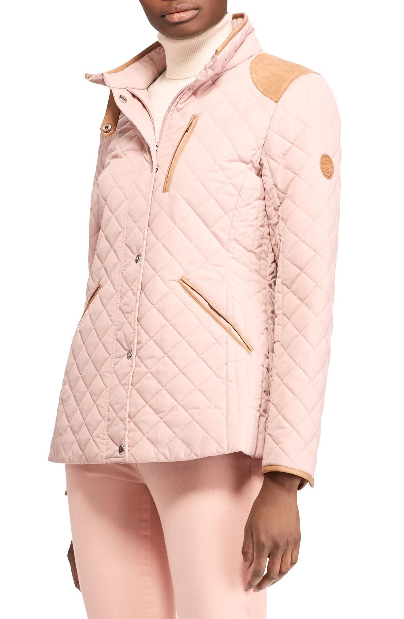 Faux Leather Trim Quilted Jacket,                         Main,                         color, English Blush