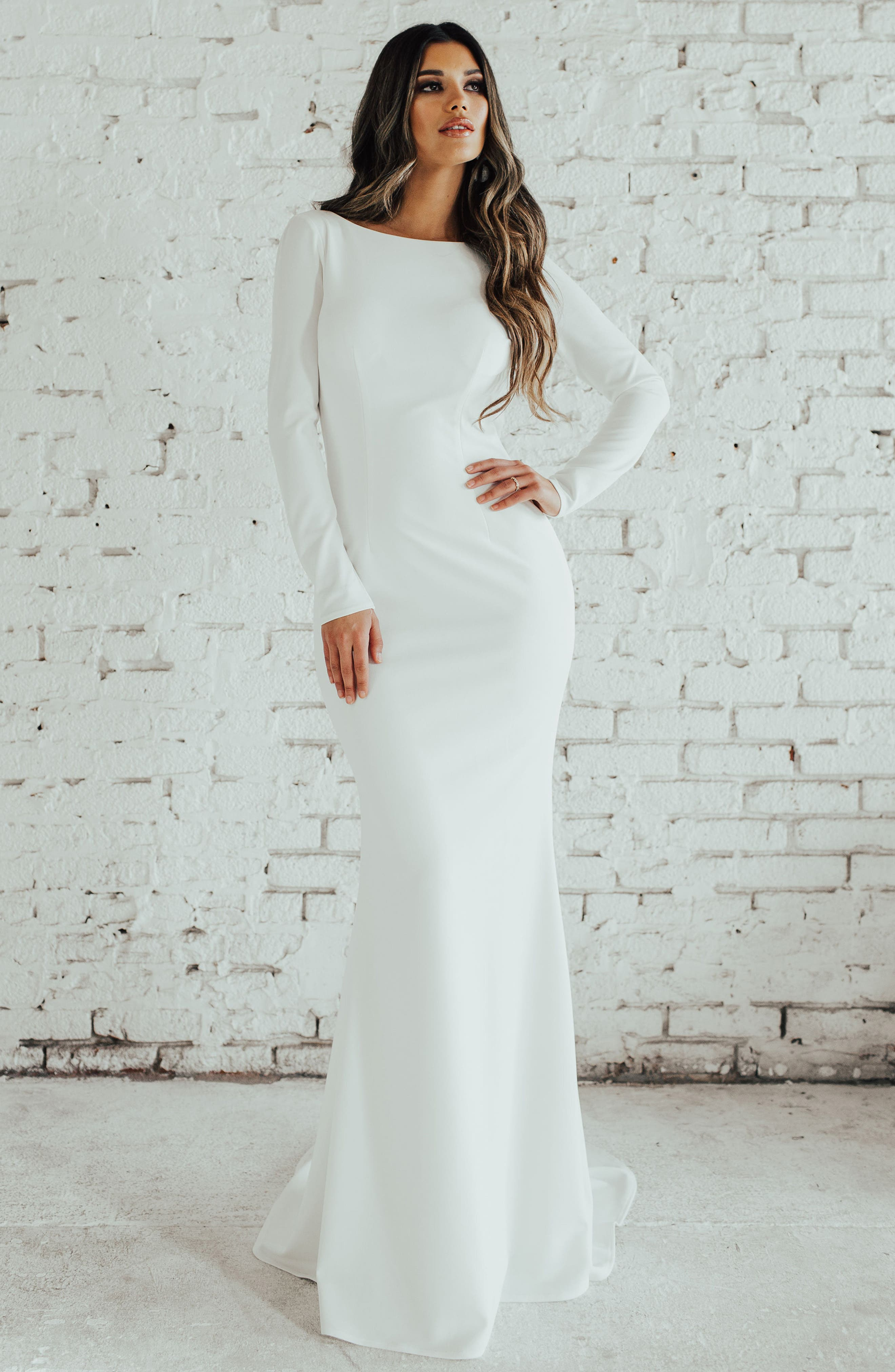 Cowl Back Crepe Gown,                             Alternate thumbnail 5, color,                             Ivory