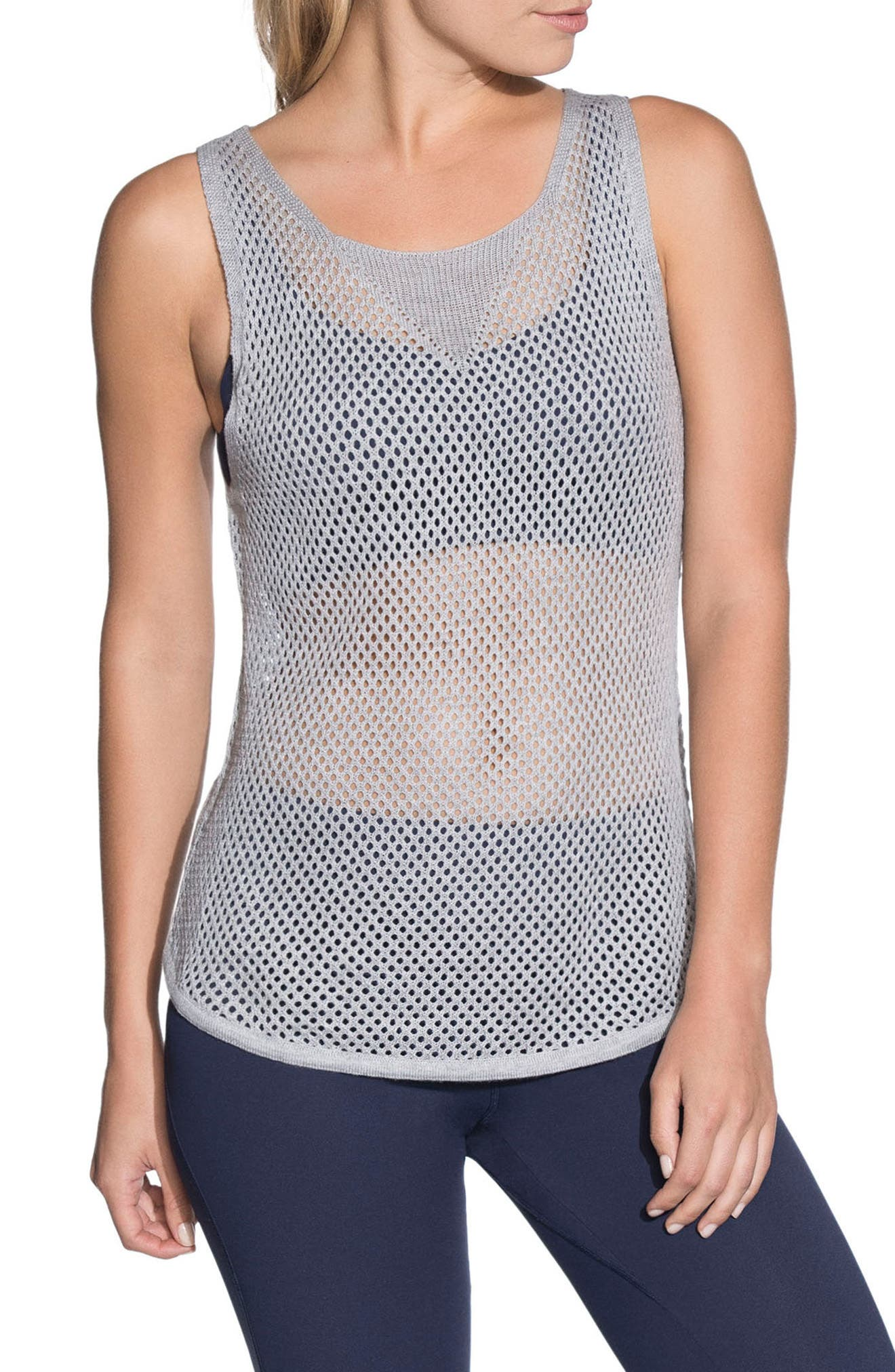 Mystic 1st Layer Mesh Tank,                         Main,                         color, Light Gray