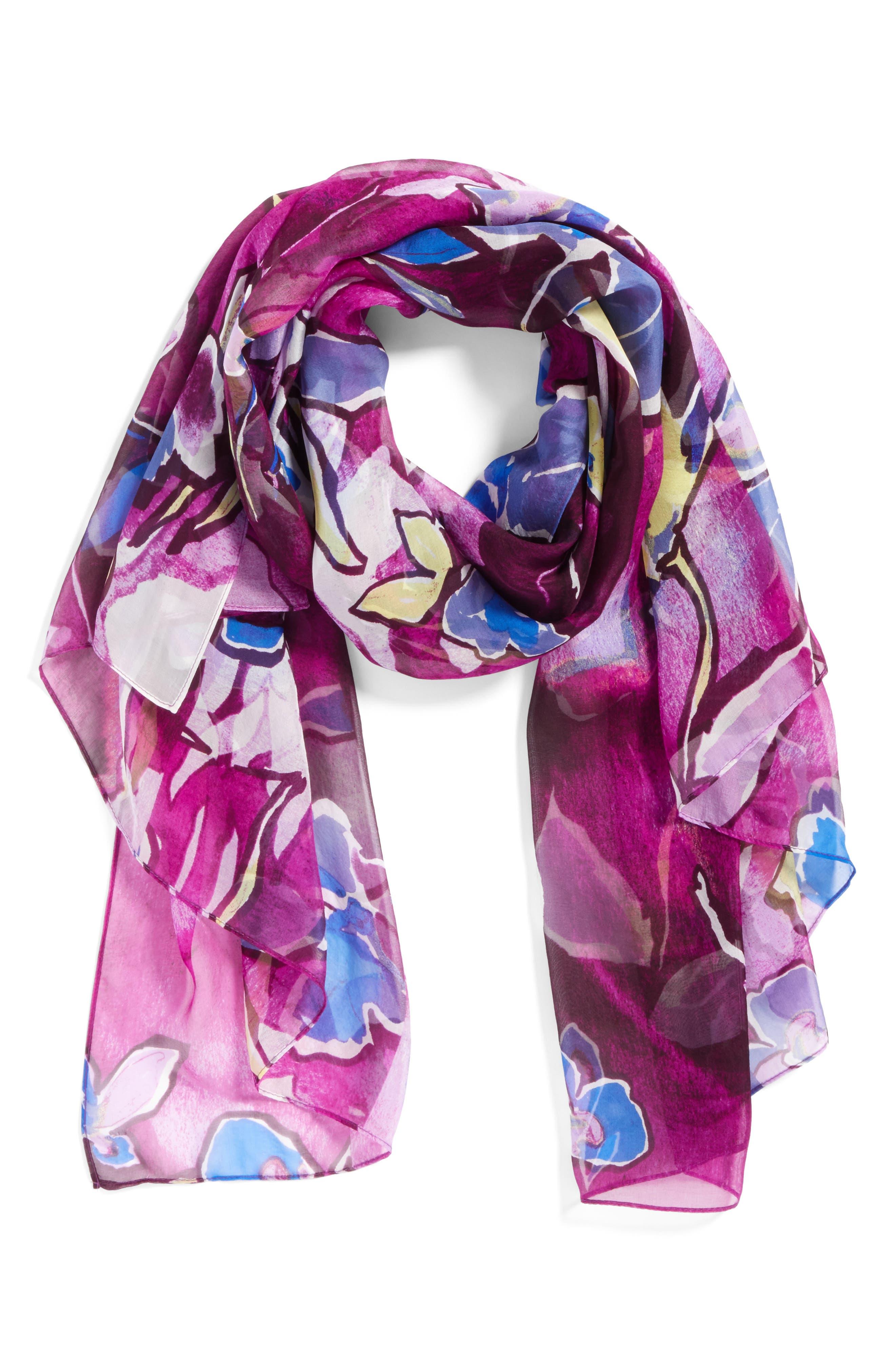 Silk Chiffon Oblong Scarf,                             Alternate thumbnail 2, color,                             Purple Textured Blooms