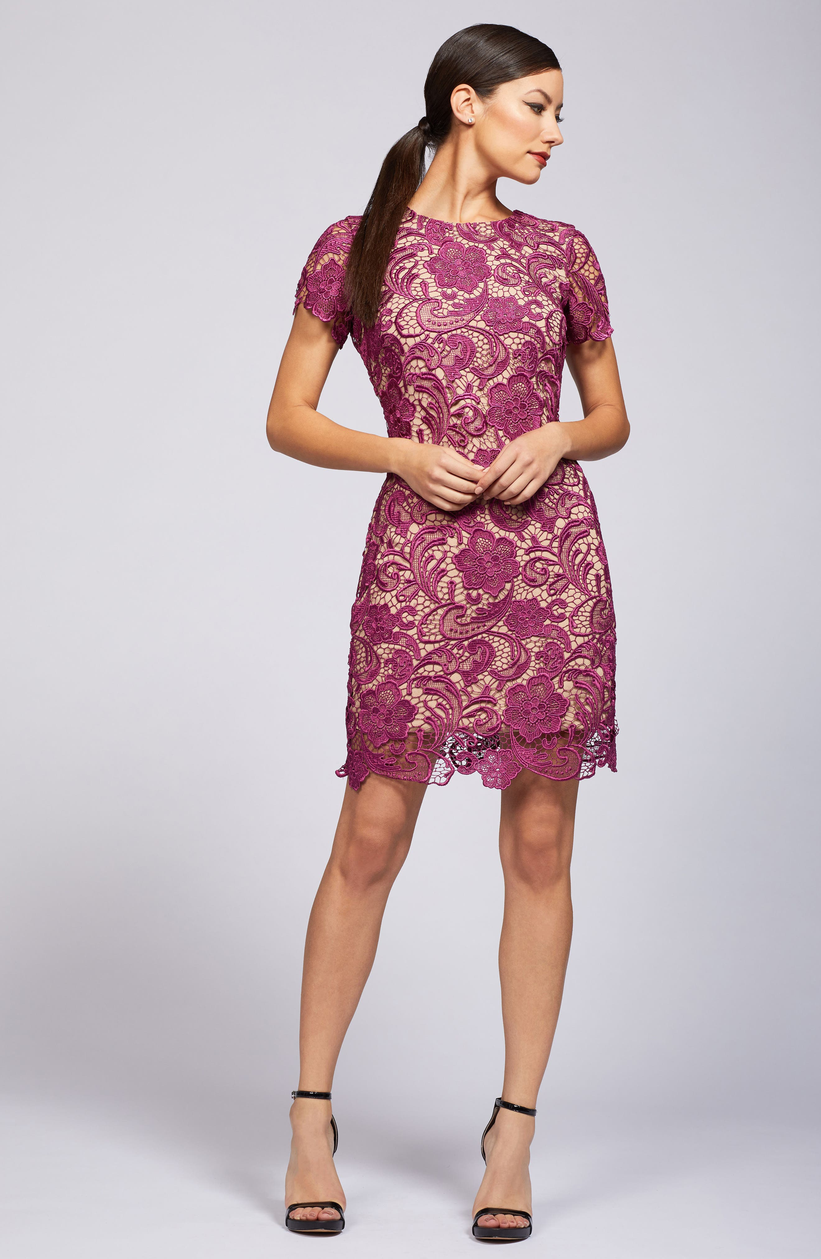 Anna Crochet Lace Sheath Dress,                             Alternate thumbnail 2, color,                             Mulberry/ Nude