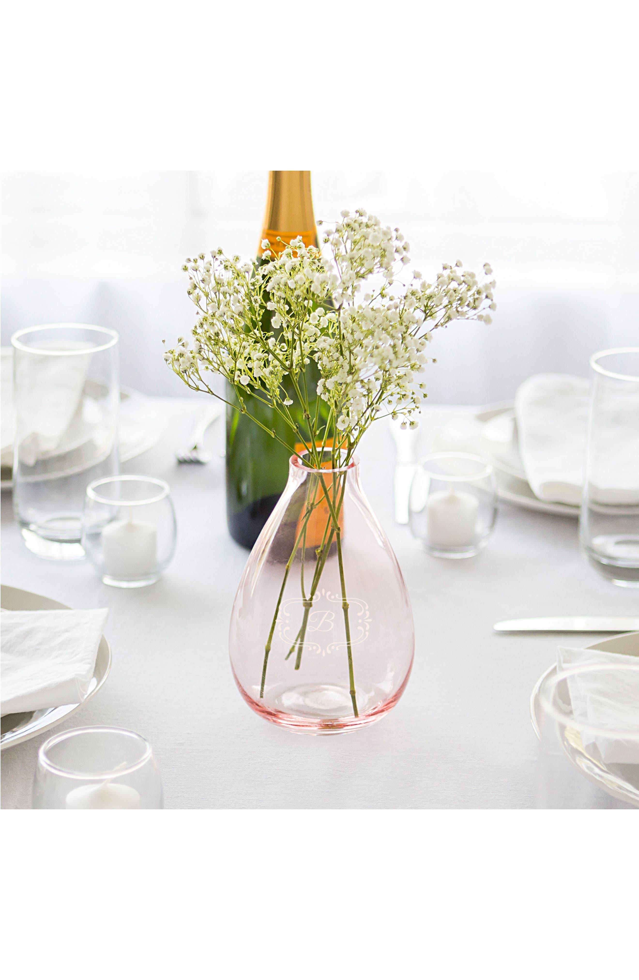 Monogram Glass Vase,                             Alternate thumbnail 2, color,