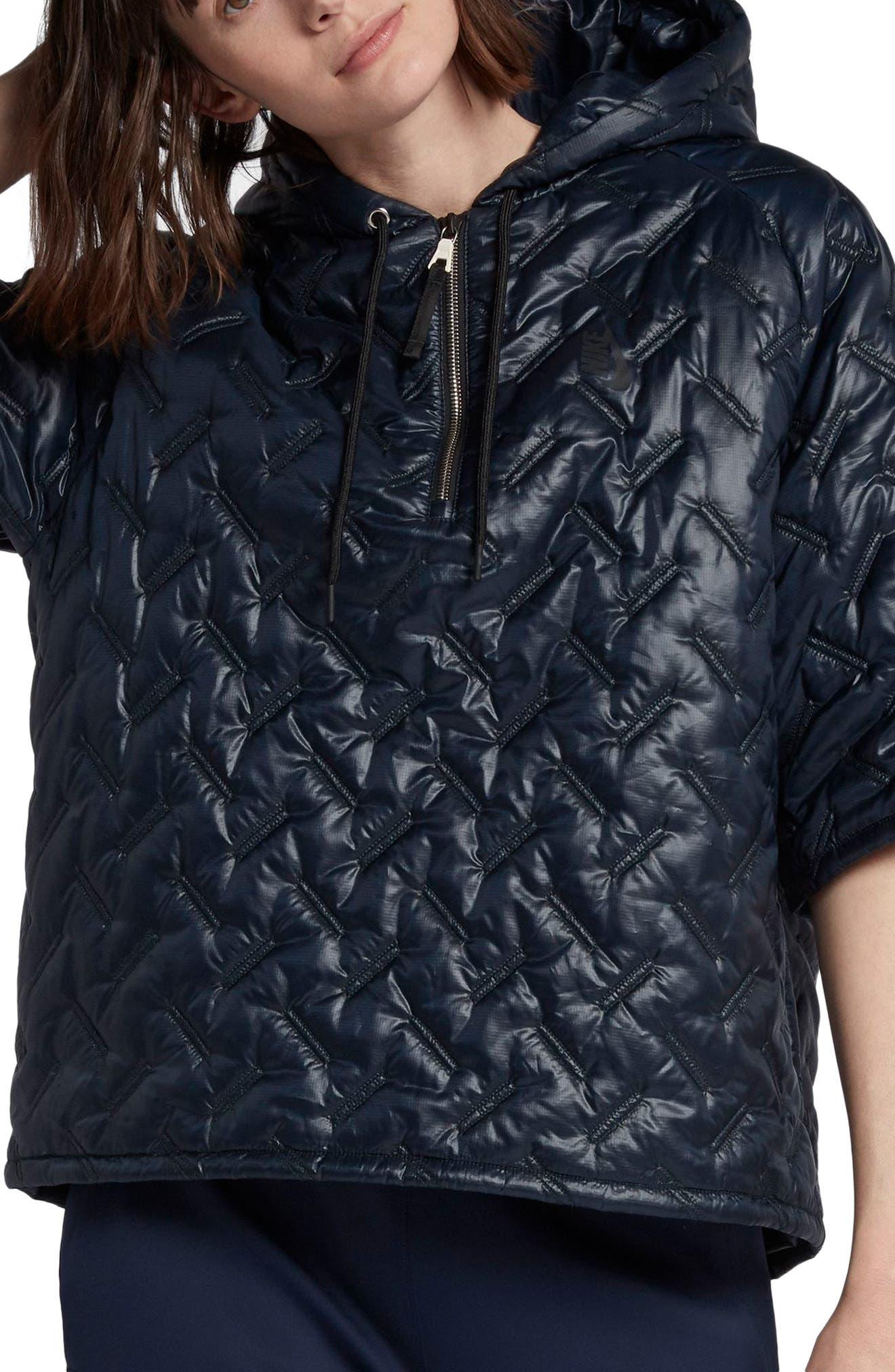 NikeLab Essentials Insulated Short Sleeve Women's Hoodie,                         Main,                         color, Dark Obsidian/ Black