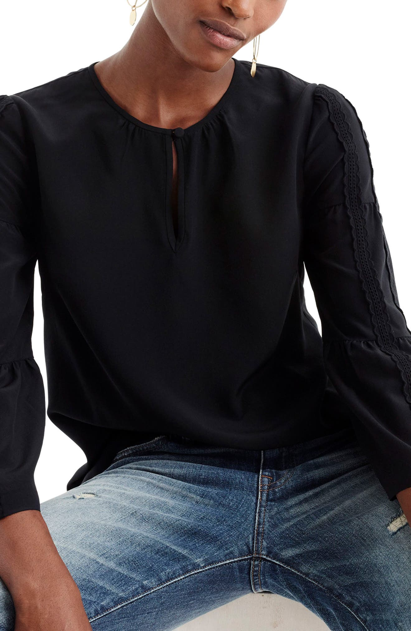 Embroidered Bell Sleeve Silk Top,                         Main,                         color, Black