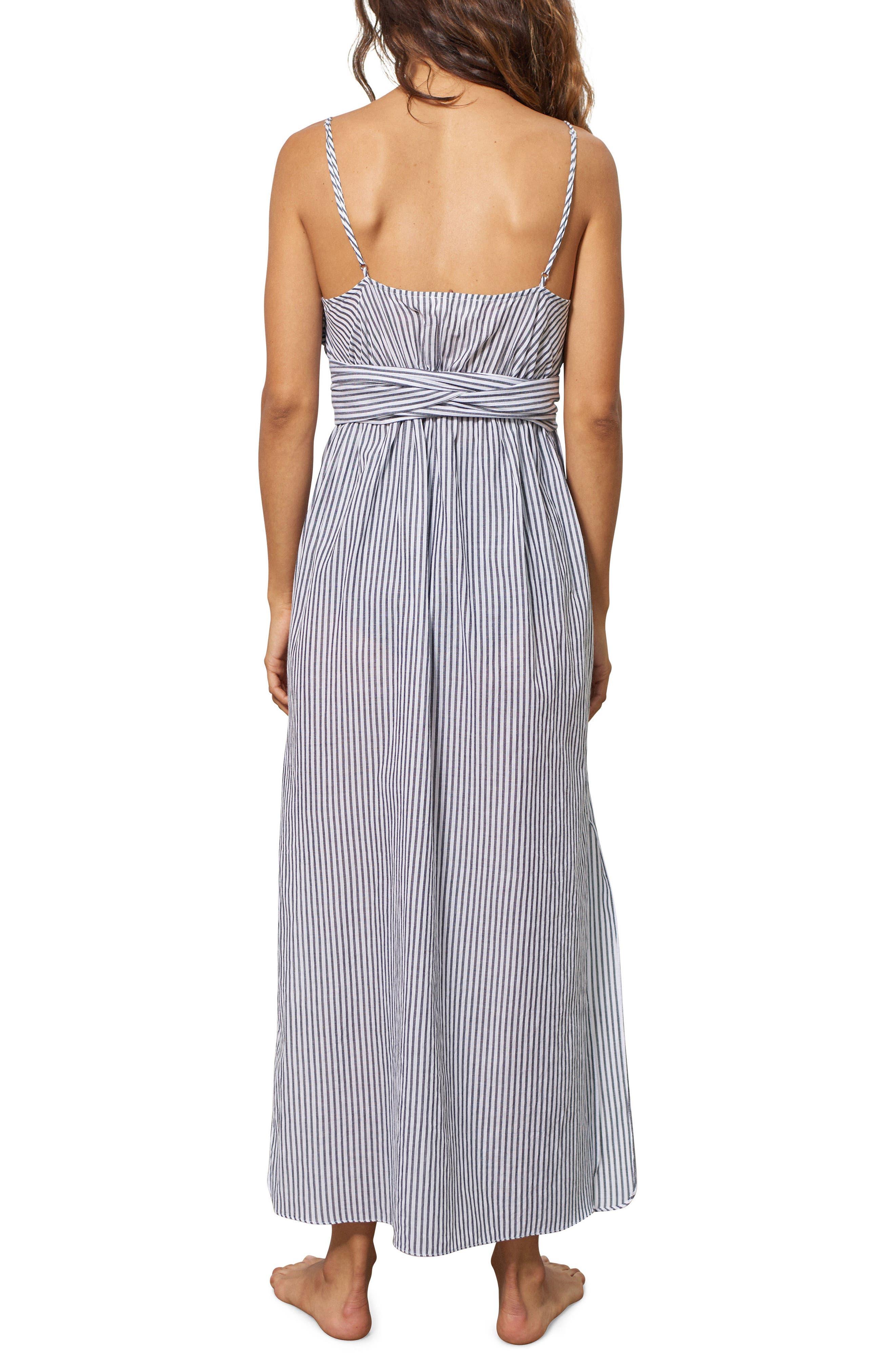 Thora Stripe Cover-Up Dress,                             Alternate thumbnail 2, color,                             Black/ White