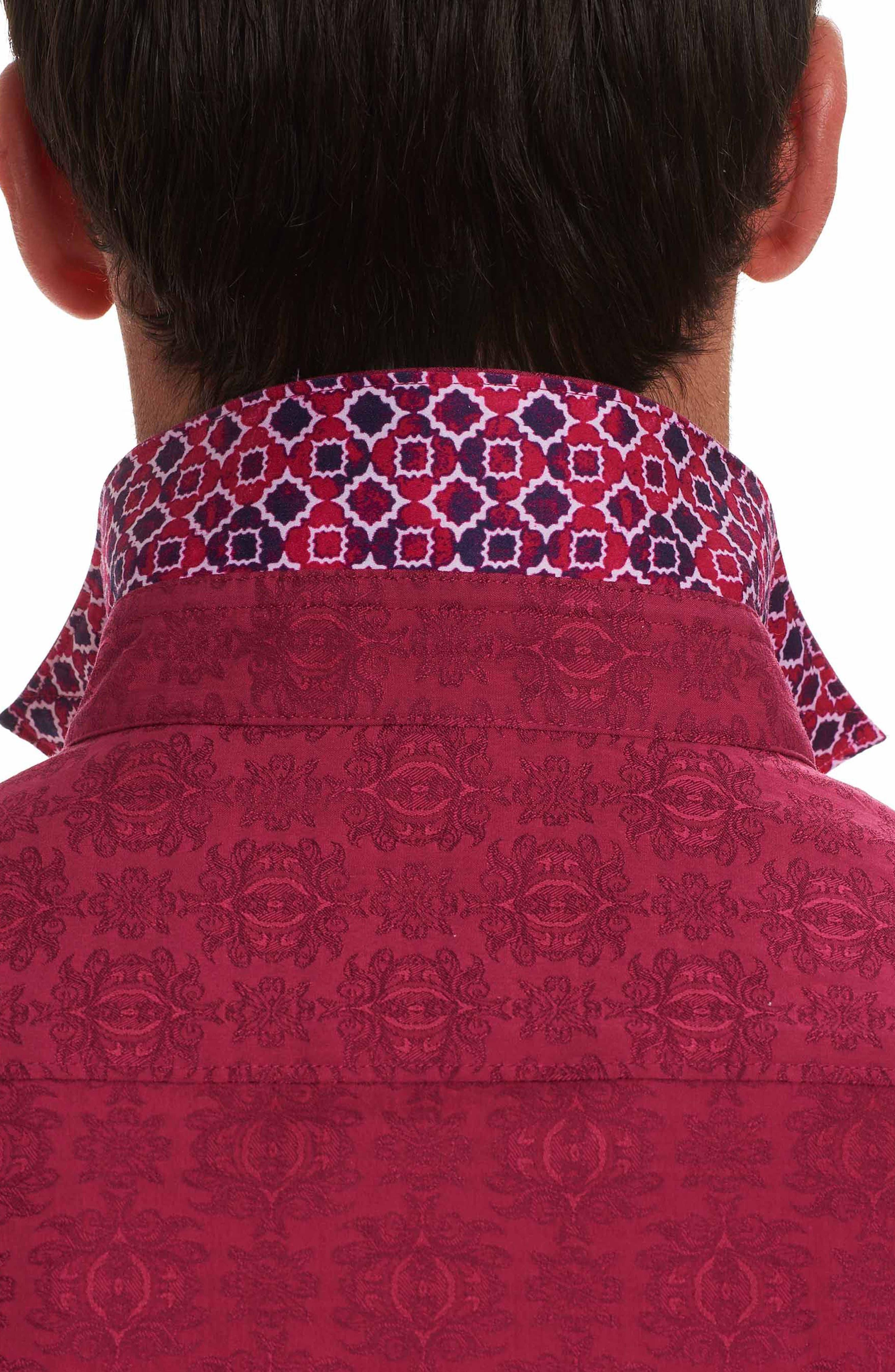 Cullen Classic Fit Jacquard Sport Shirt,                             Alternate thumbnail 4, color,                             Rose
