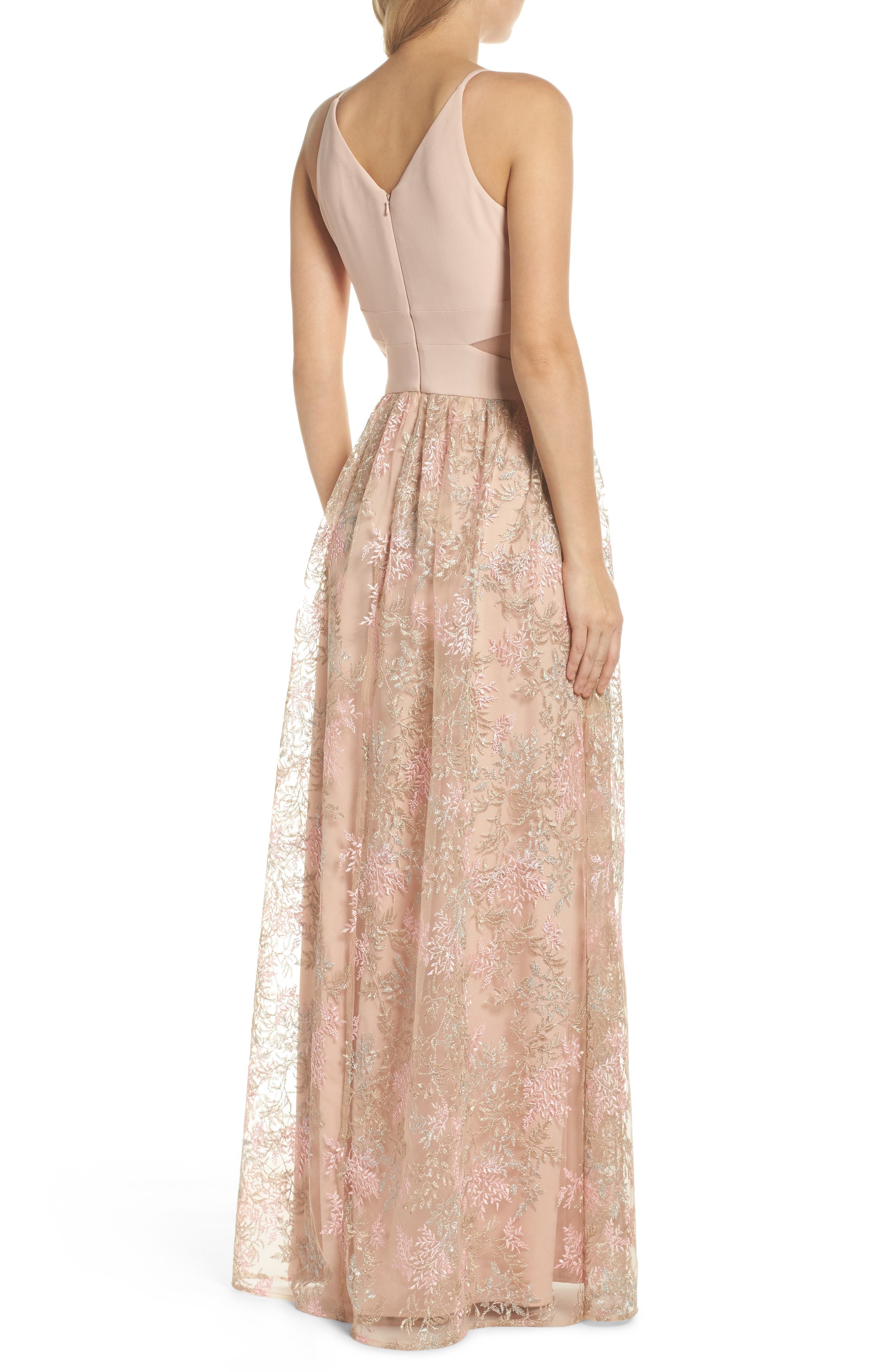 Mesh Inset Embroidered Gown,                             Alternate thumbnail 2, color,                             Blush/ Multi