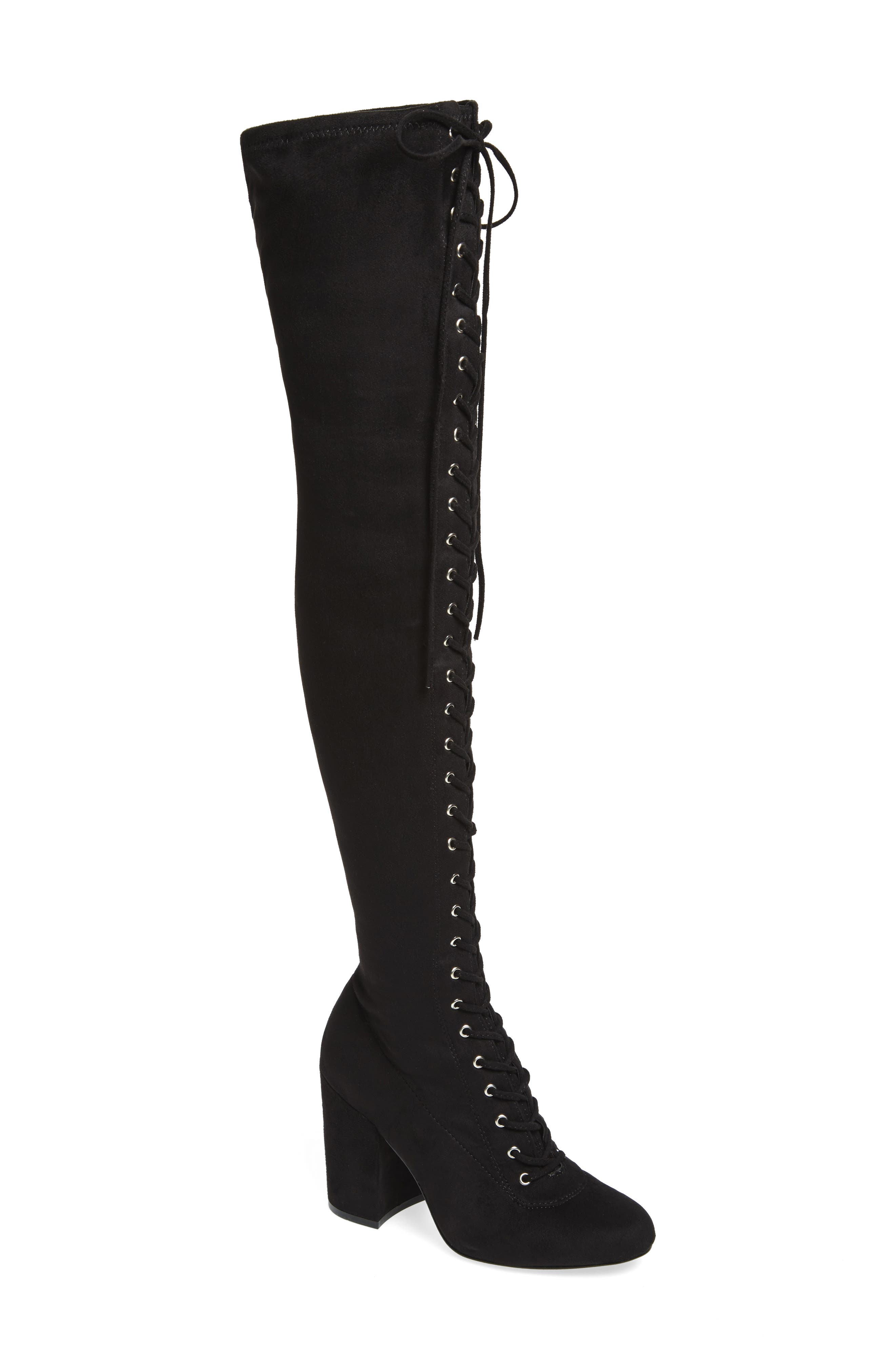 General Over the Knee Boot,                             Main thumbnail 1, color,                             Black Suede