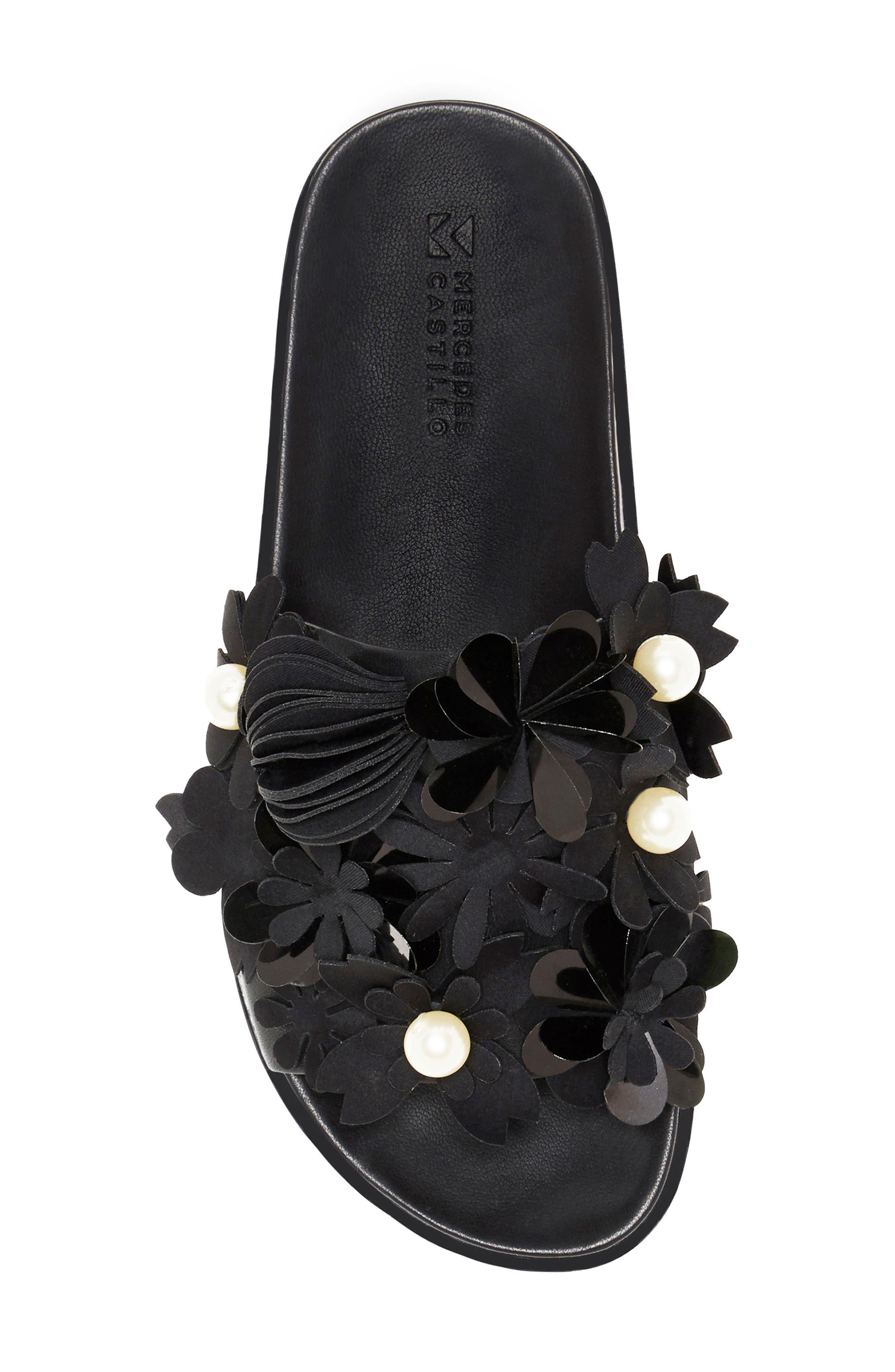 Alyse Flowered Slide Sandal,                             Alternate thumbnail 4, color,                             Black