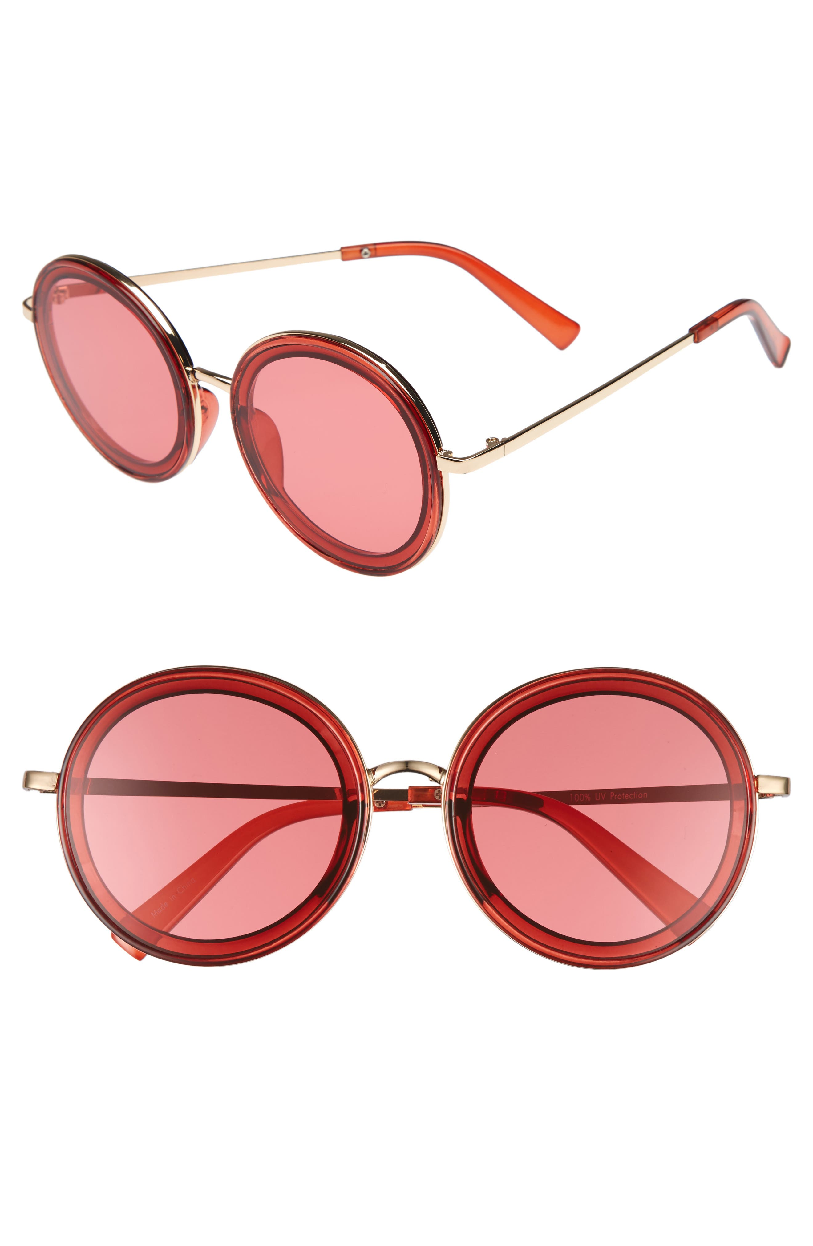 59mm Round Sunglasses,                             Main thumbnail 1, color,                             Pink
