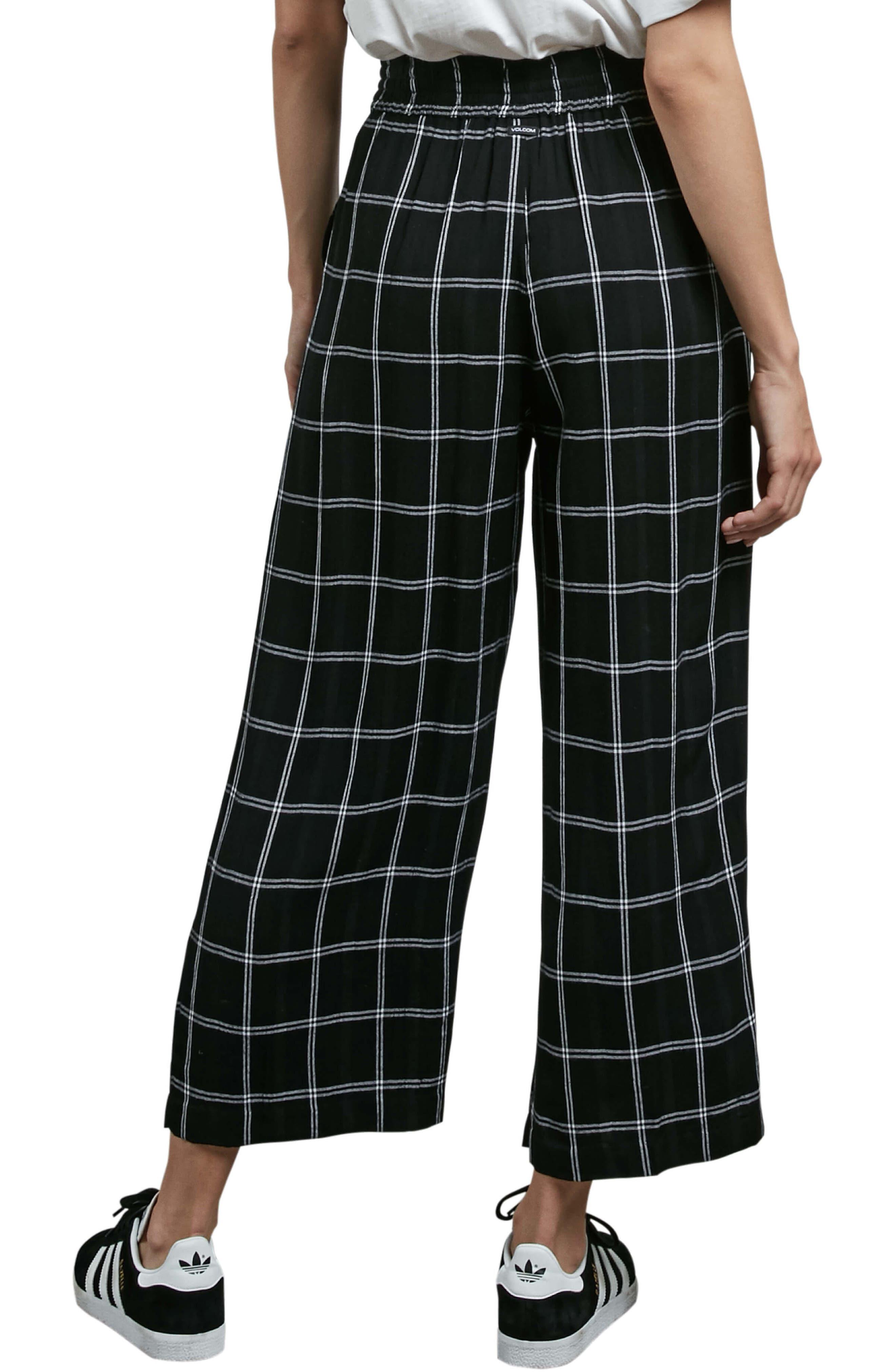 Jumponit Windowpane Crop Pants,                             Alternate thumbnail 2, color,                             Black