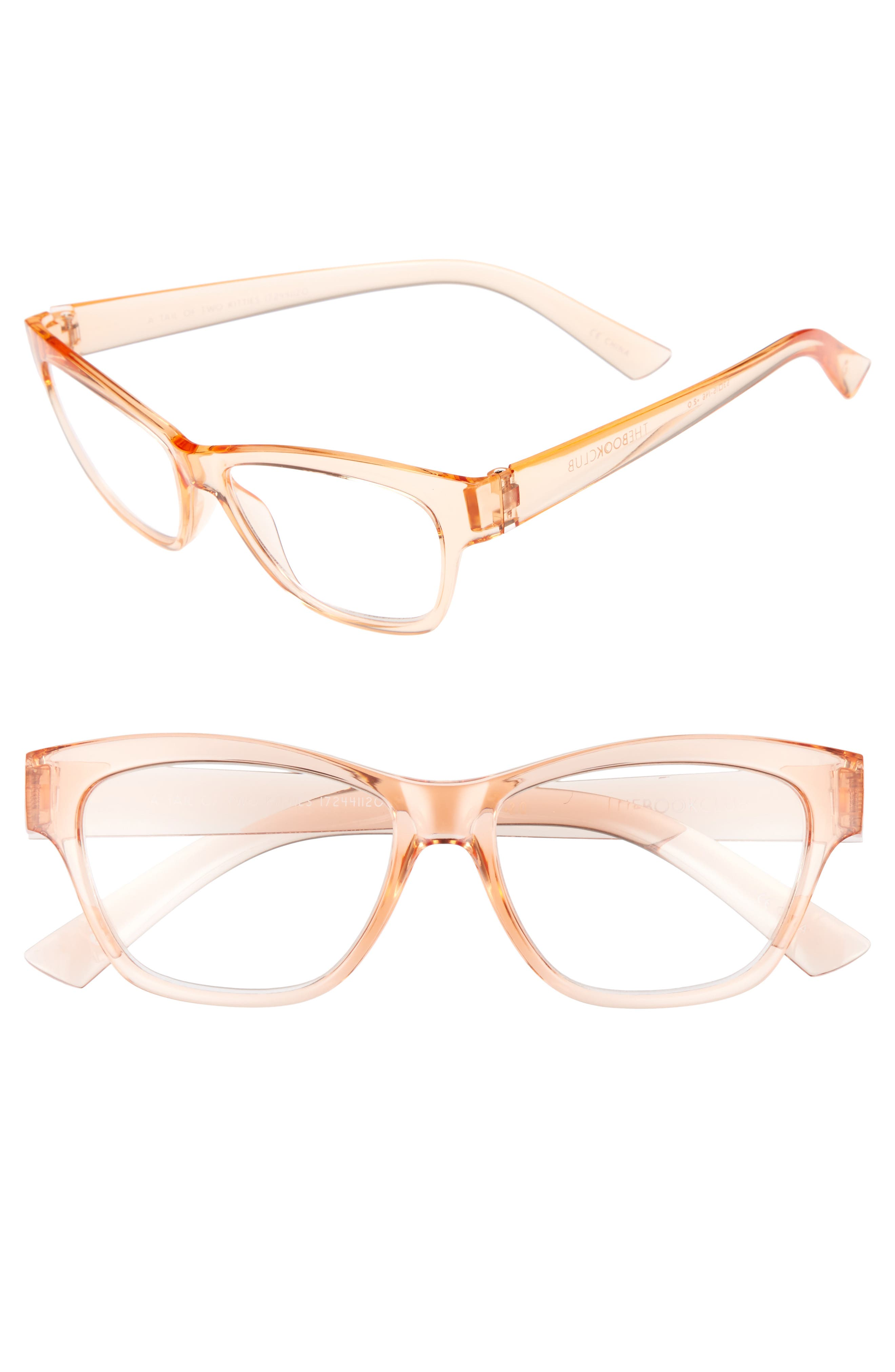 A Tail Of Two Kitties 53mm Reading Glasses,                         Main,                         color, Sherbert