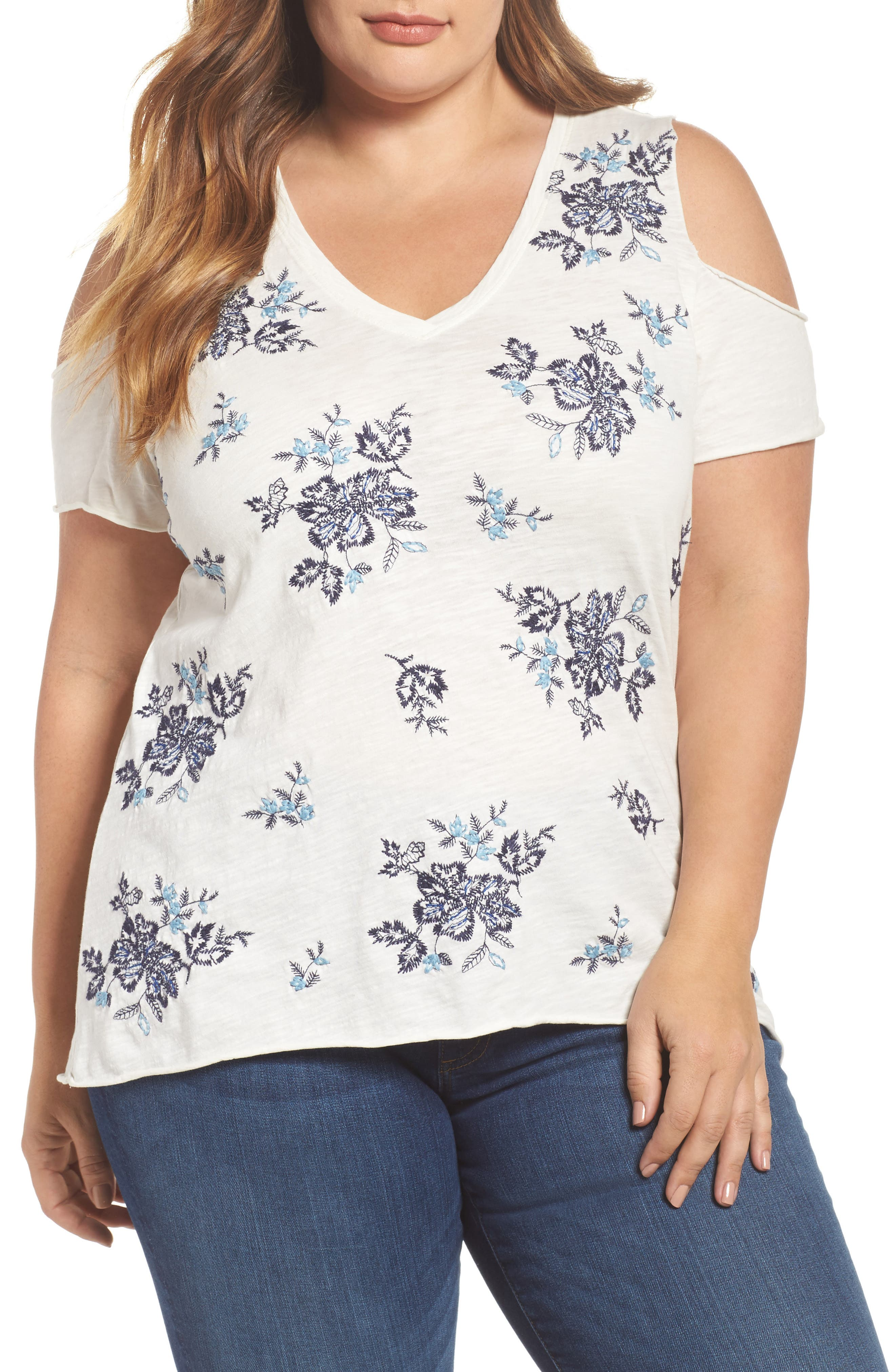 Main Image - Lucky Brand Embroidered Cold Shoulder Tee (Plus Size)