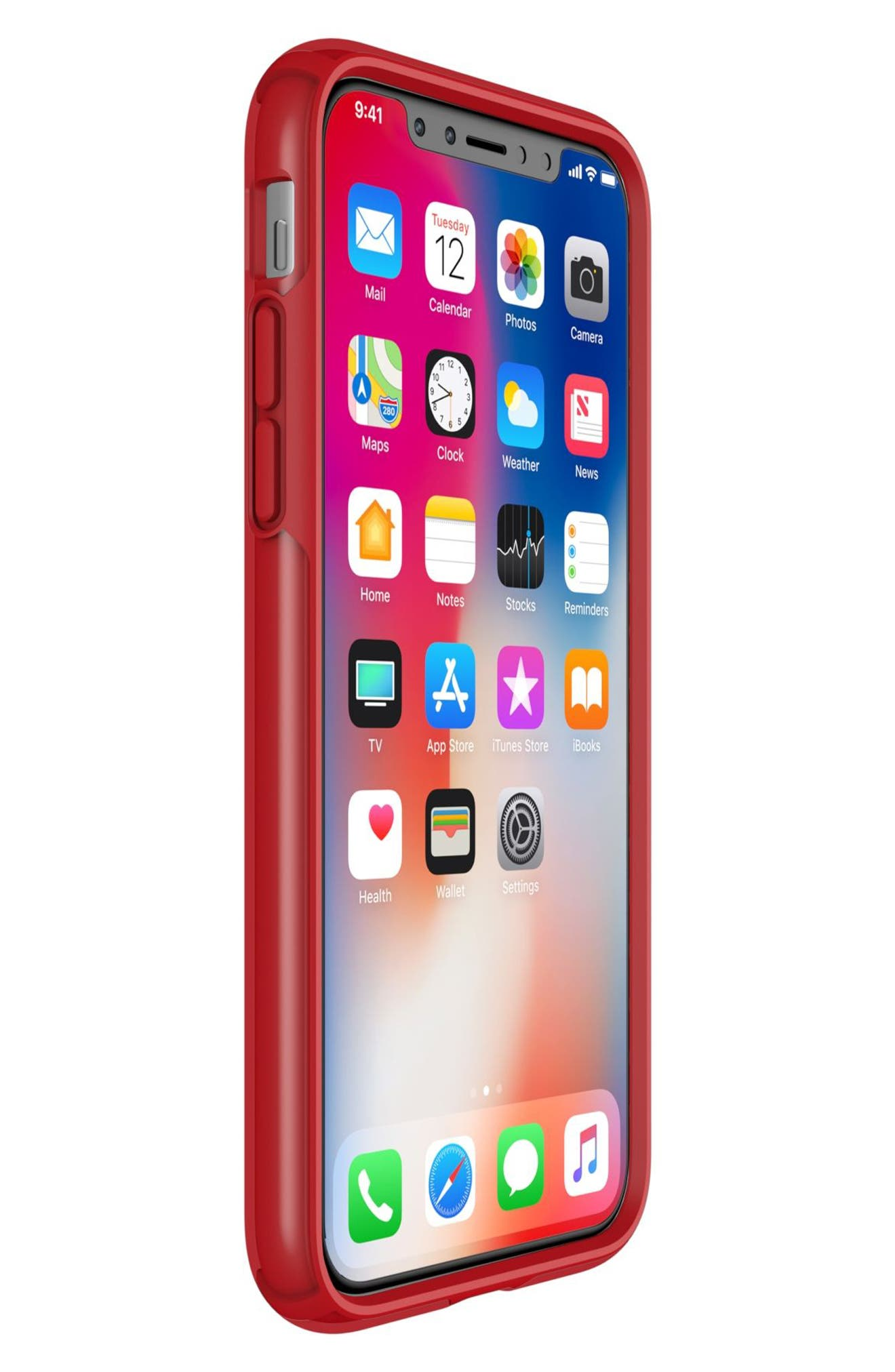 Transparent iPhone X Case,                             Alternate thumbnail 6, color,                             Clear/ Heartthrob Red