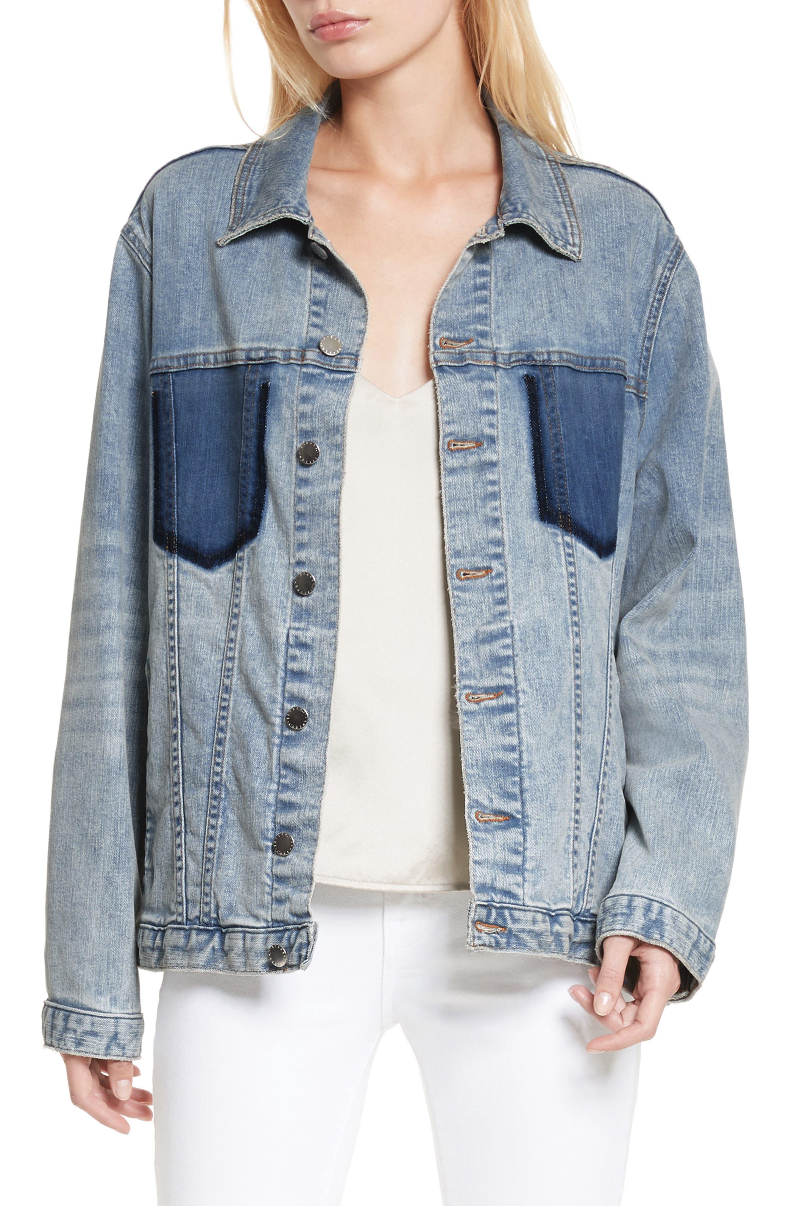 Karina Shadow Pocket Denim Jacket,                         Main,                         color, Classic Sky