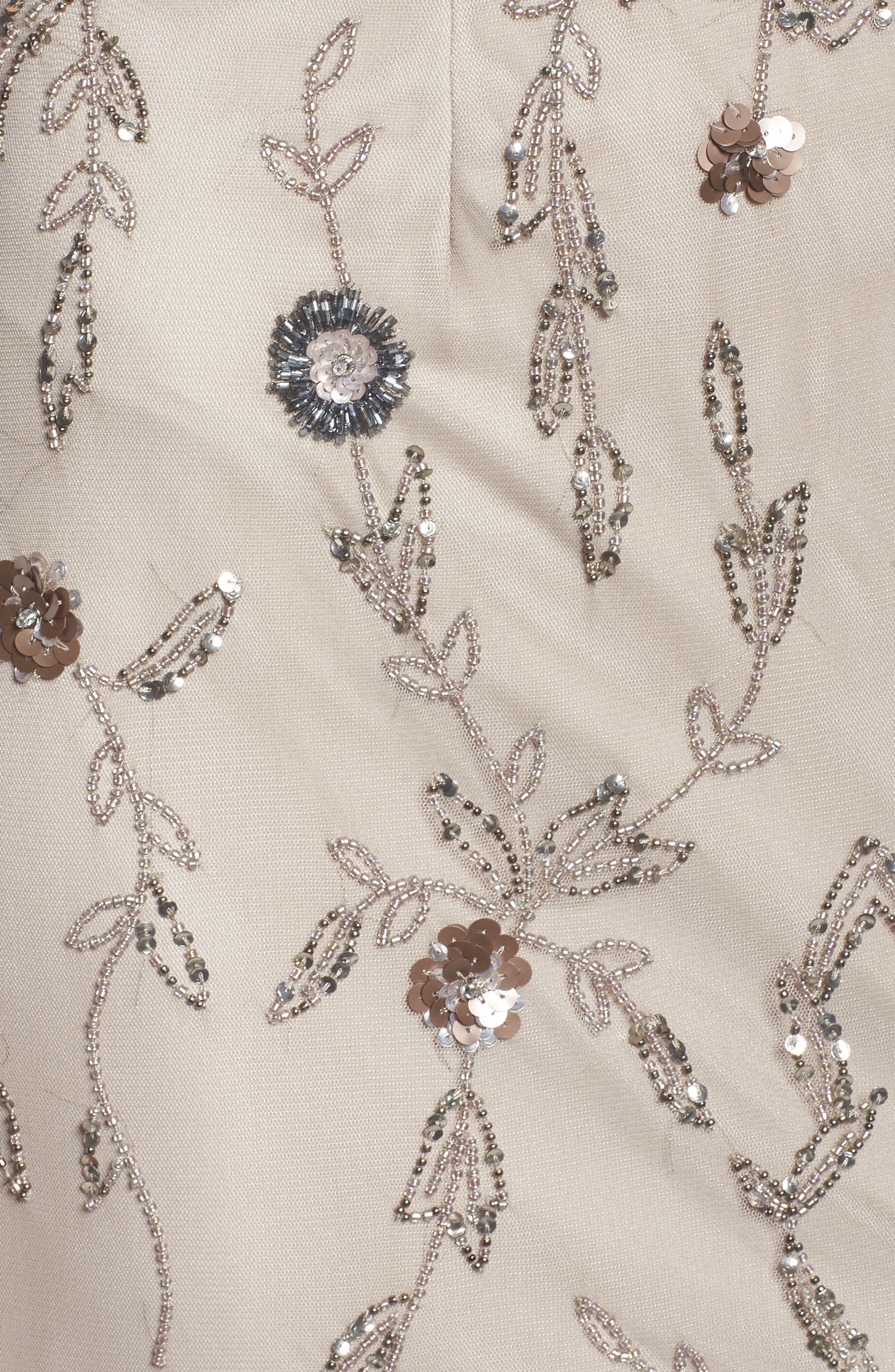 Floral Beaded Gown,                             Alternate thumbnail 5, color,                             Platinum