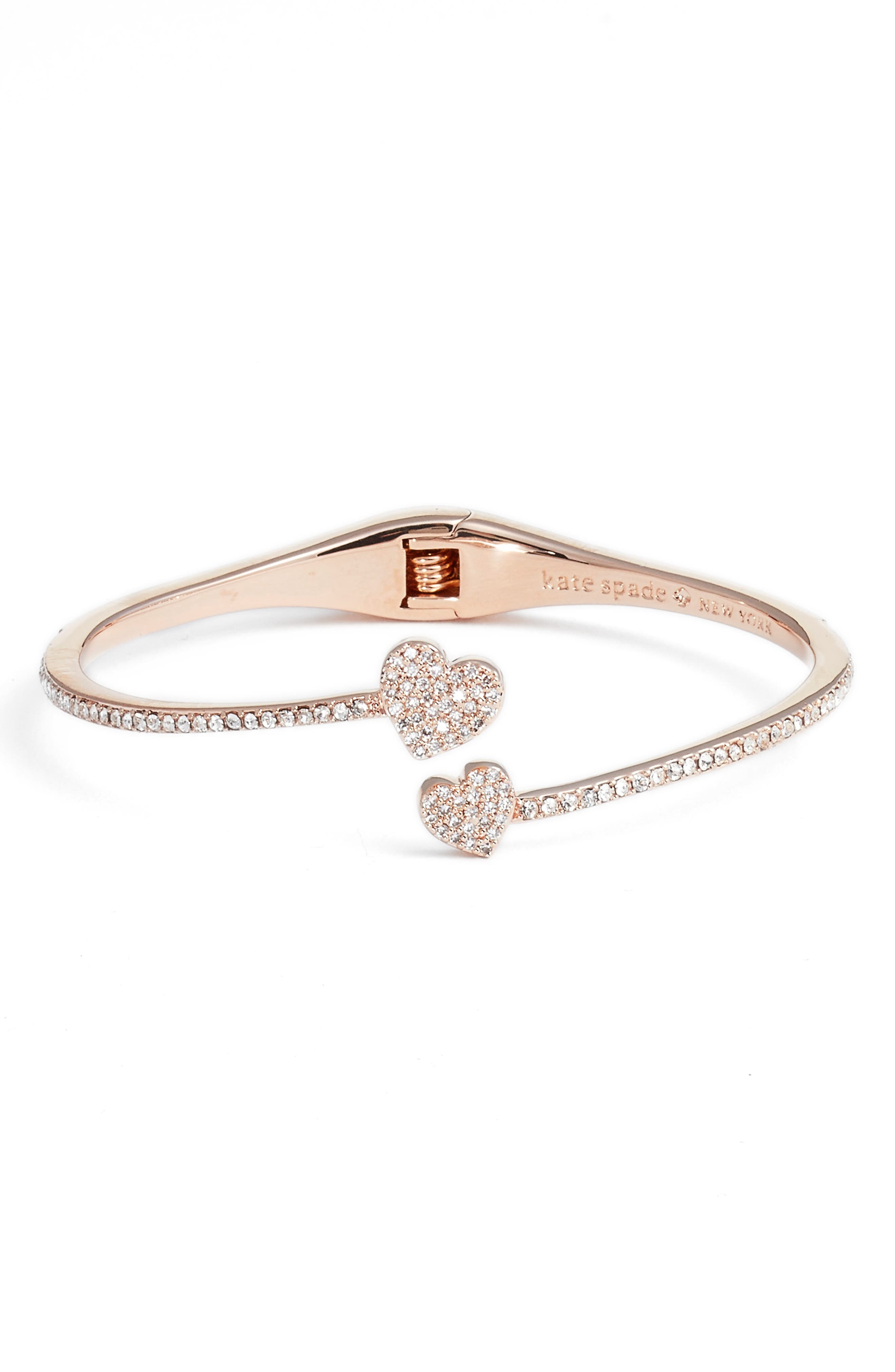 yours truly pavé crystal cuff,                         Main,                         color, Rose Gold