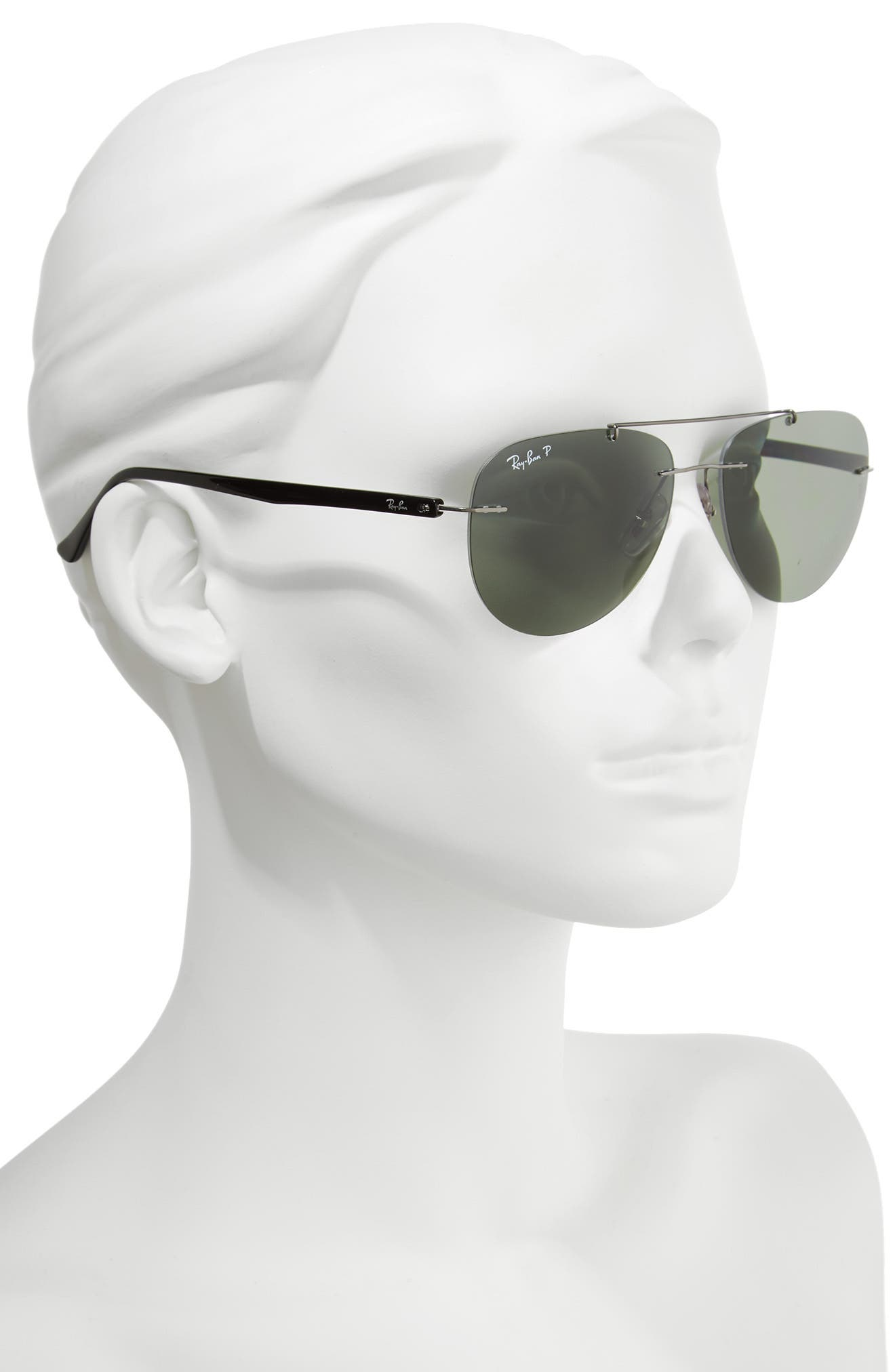 Phantos 57mm Polarized Rimless Aviator Sunglasses,                             Alternate thumbnail 3, color,                             Polar Gunmetal