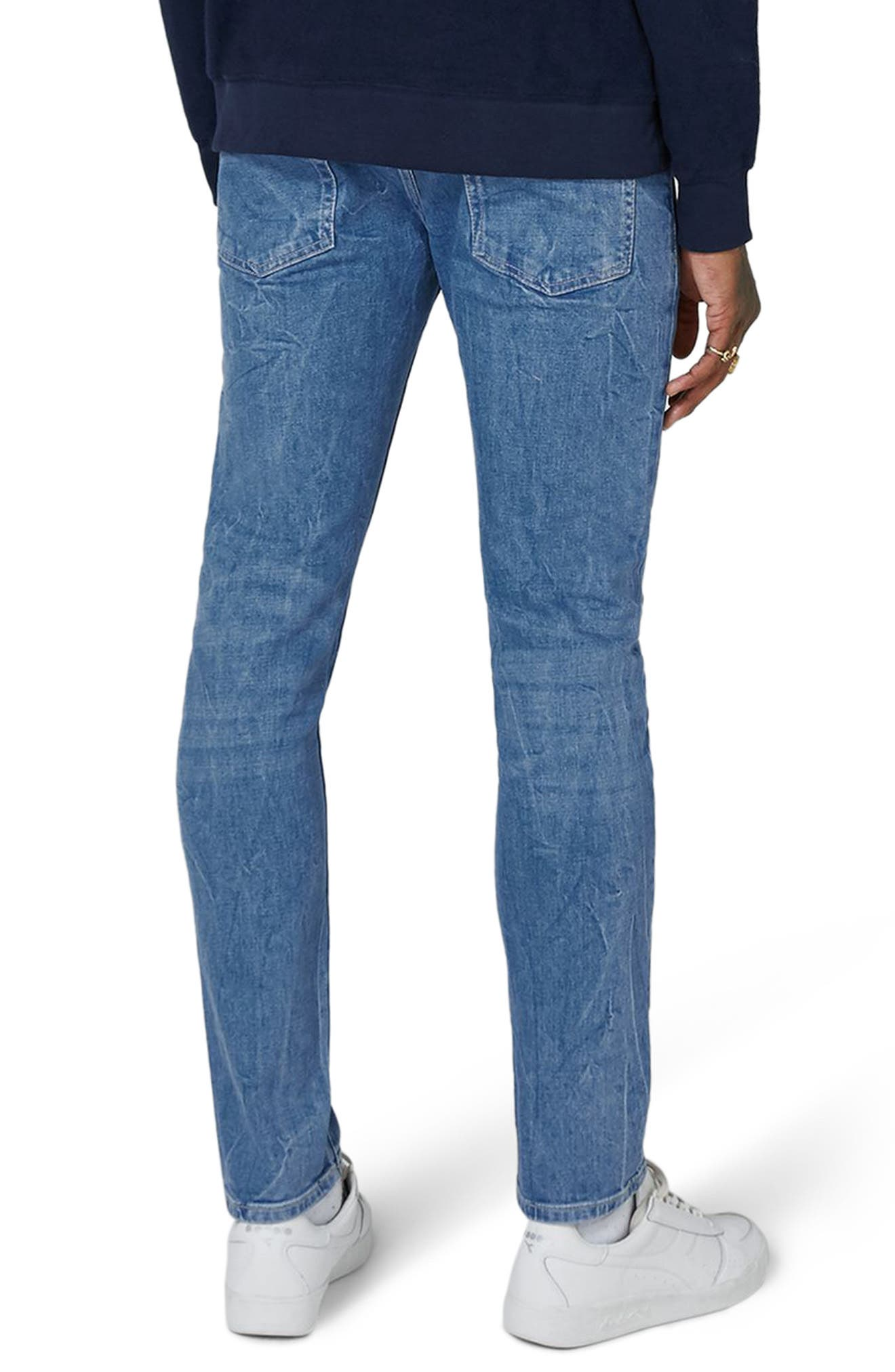 Stretch Slim Leg Jeans,                             Alternate thumbnail 2, color,                             Bright Blue