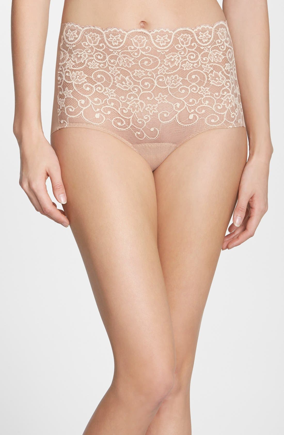 'Double Take' Lace Front High Rise Panties,                             Main thumbnail 1, color,                             Ivory/ Beige