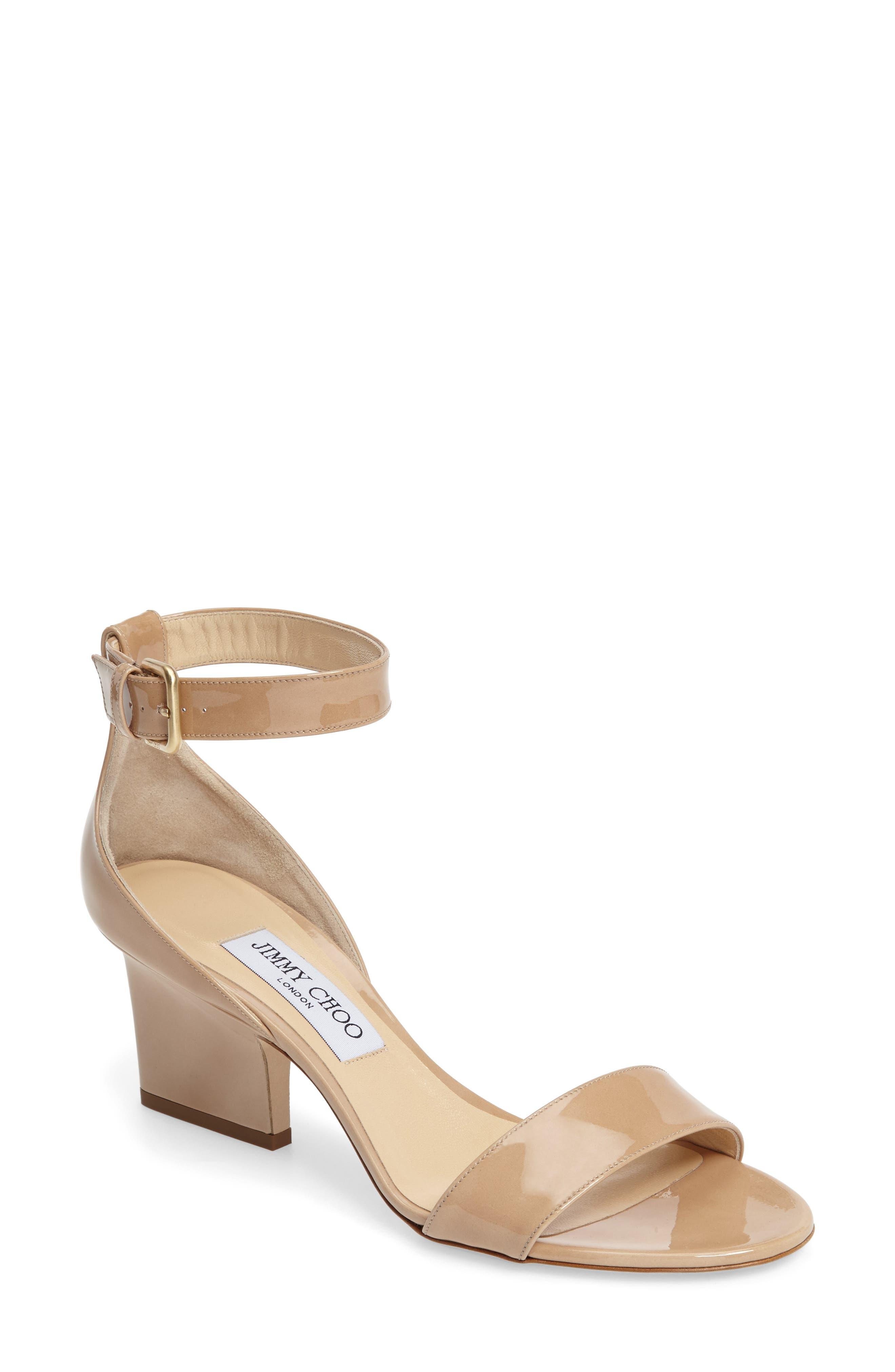 Edina Ankle Strap Sandal,                             Main thumbnail 1, color,                             Nude Patent