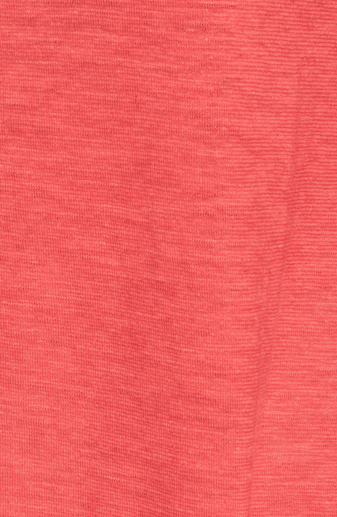 Slub Jersey Tunic Top,                             Alternate thumbnail 5, color,                             Strawberry