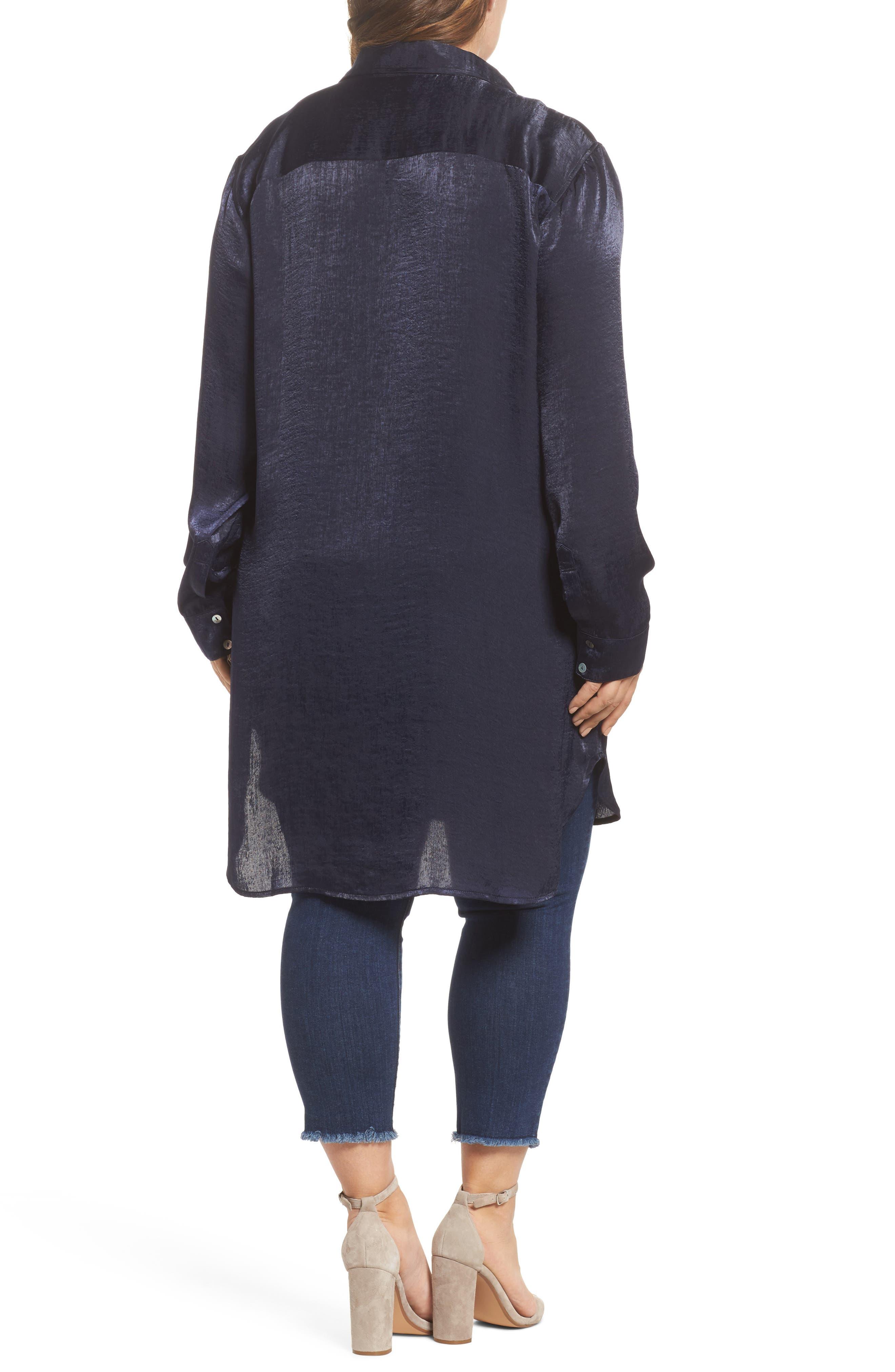 Alternate Image 2  - SLINK Jeans Hammered Satin Tunic Shirt (Plus Size)