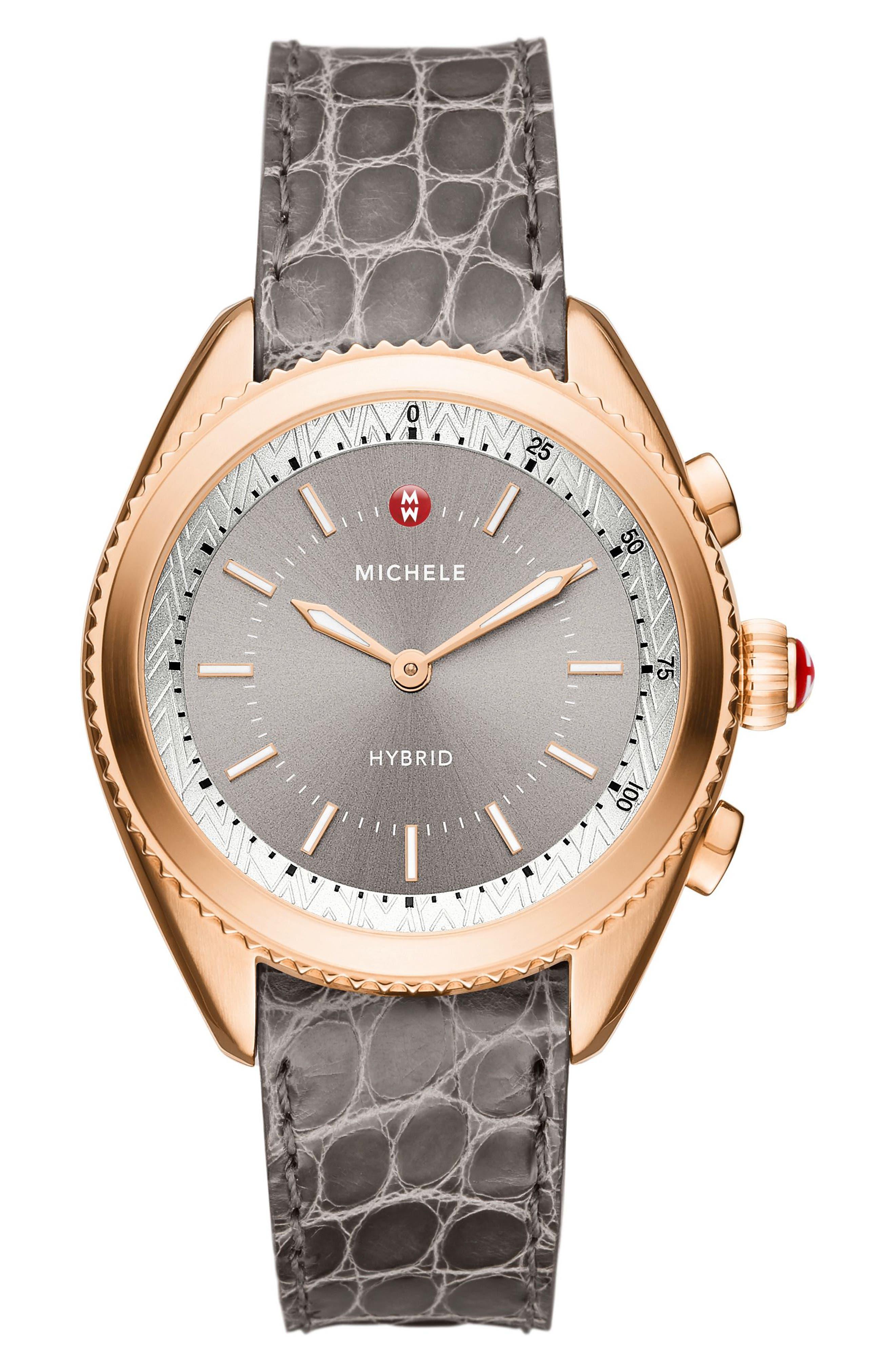 Hybrid Tracker Watch, 38mm,                         Main,                         color, Grey/ Sunray Grey/ Rose Gold