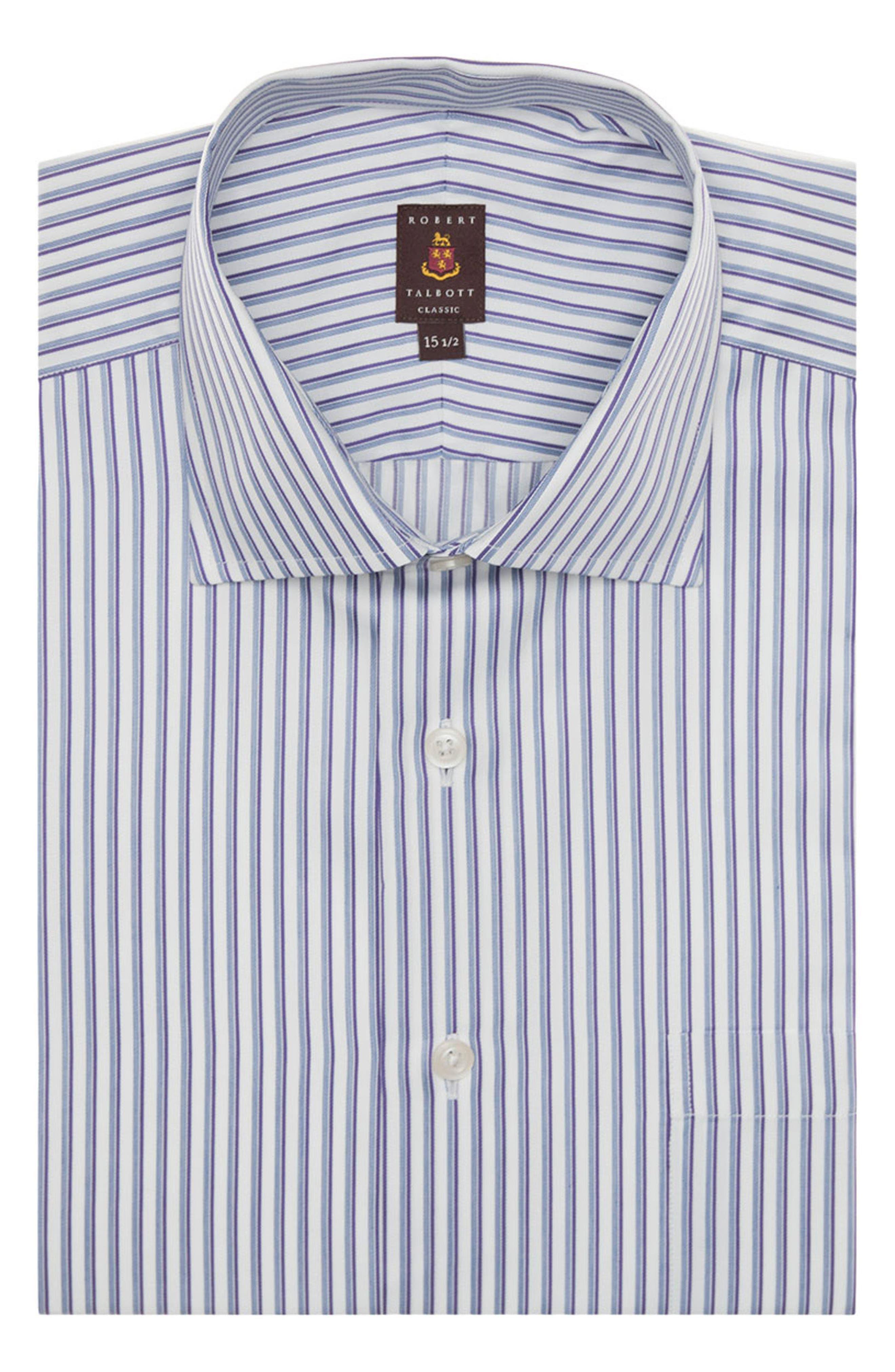 Tailored Fit Stripe Dress Shirt,                         Main,                         color, Purple