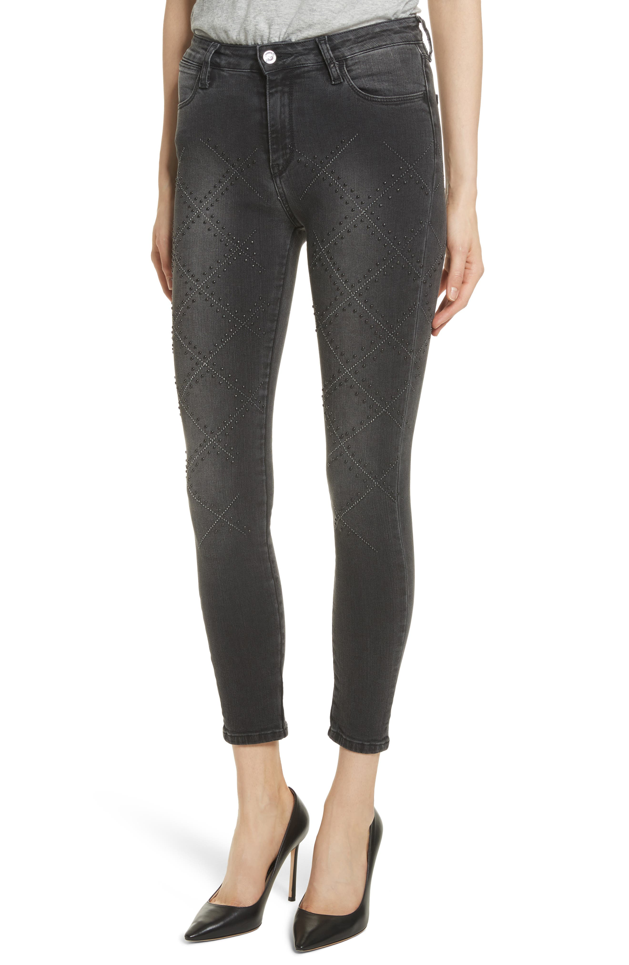 Reina Stud Skinny Jeans,                             Alternate thumbnail 4, color,                             Black Used