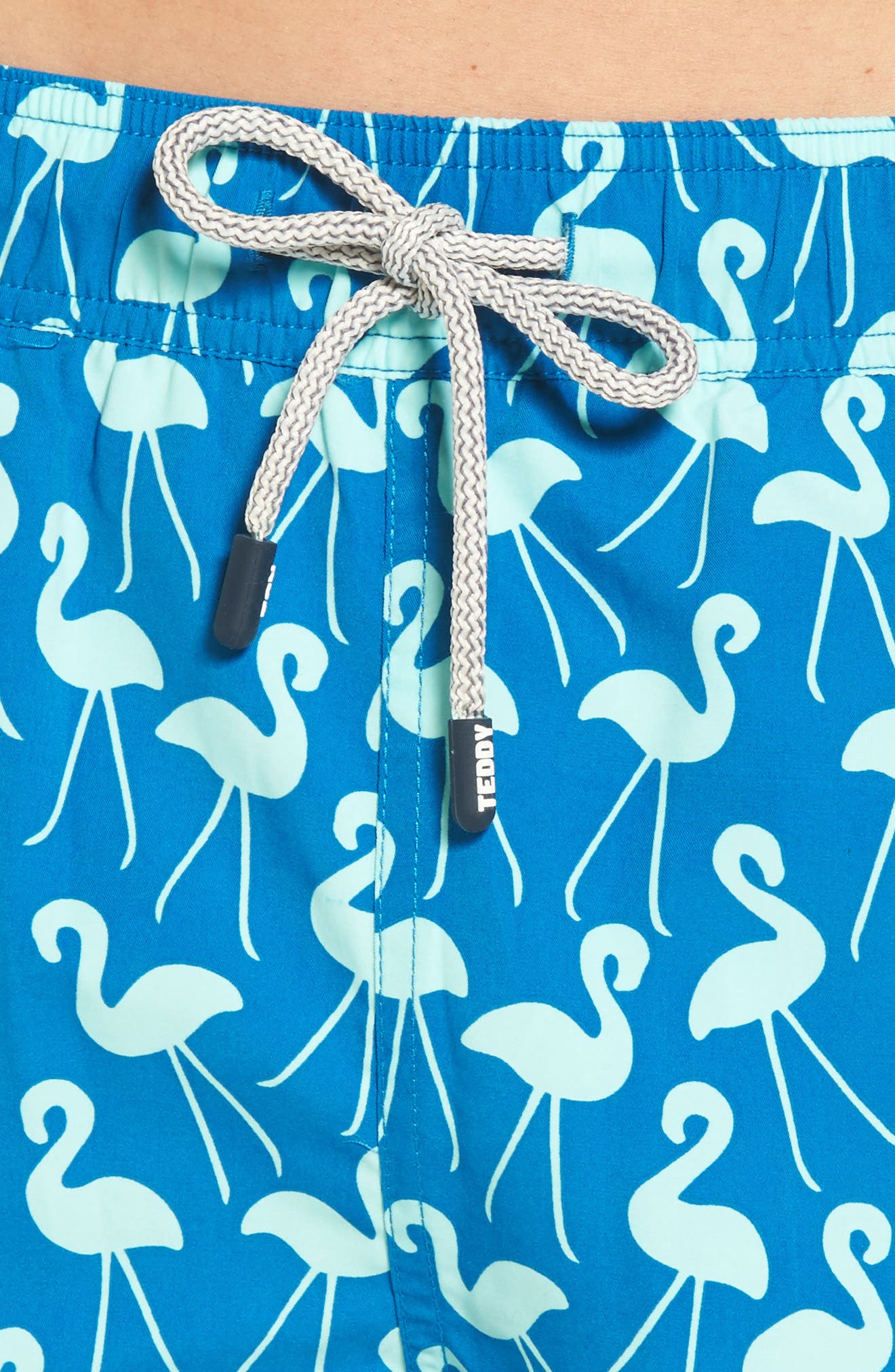 Flamingo Print Swim Trunks,                             Alternate thumbnail 4, color,                             Sky Blue