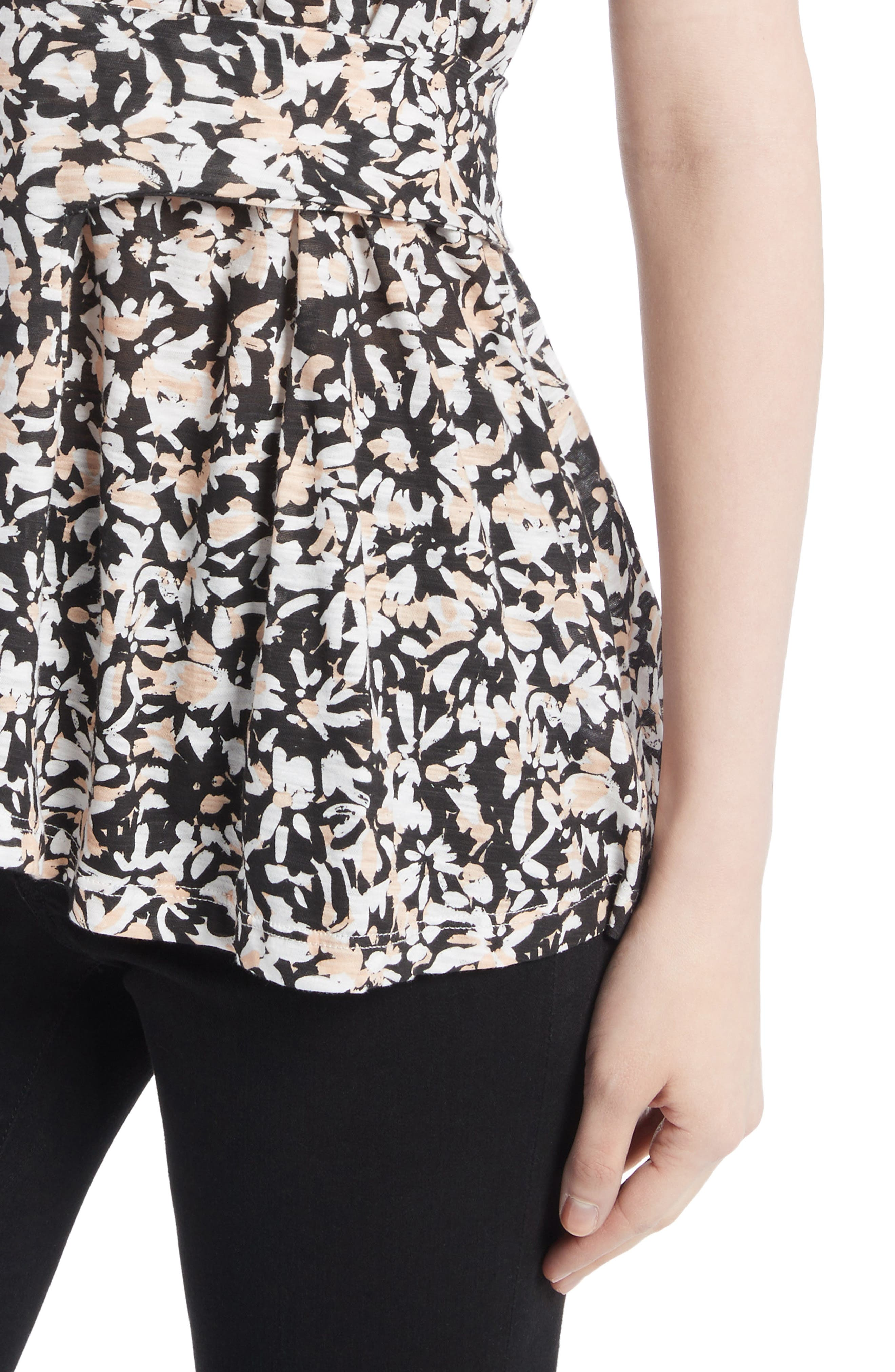 Band Detail Print Tissue Jersey Tee,                             Alternate thumbnail 4, color,                             Nude/ Black Painted Floral