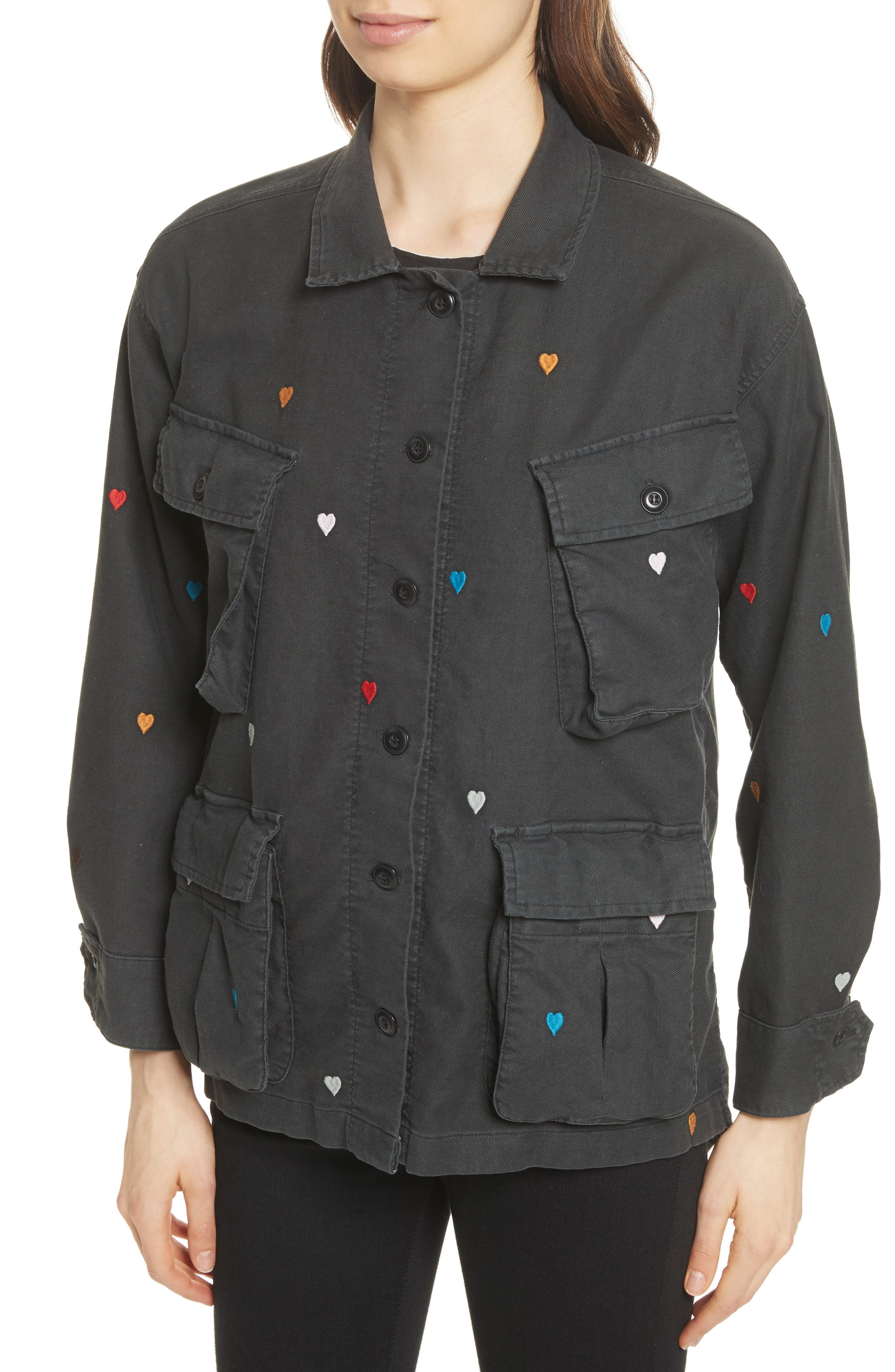 The Commander Embroidered Jacket,                             Alternate thumbnail 4, color,                             Black/ Heart Embroidery