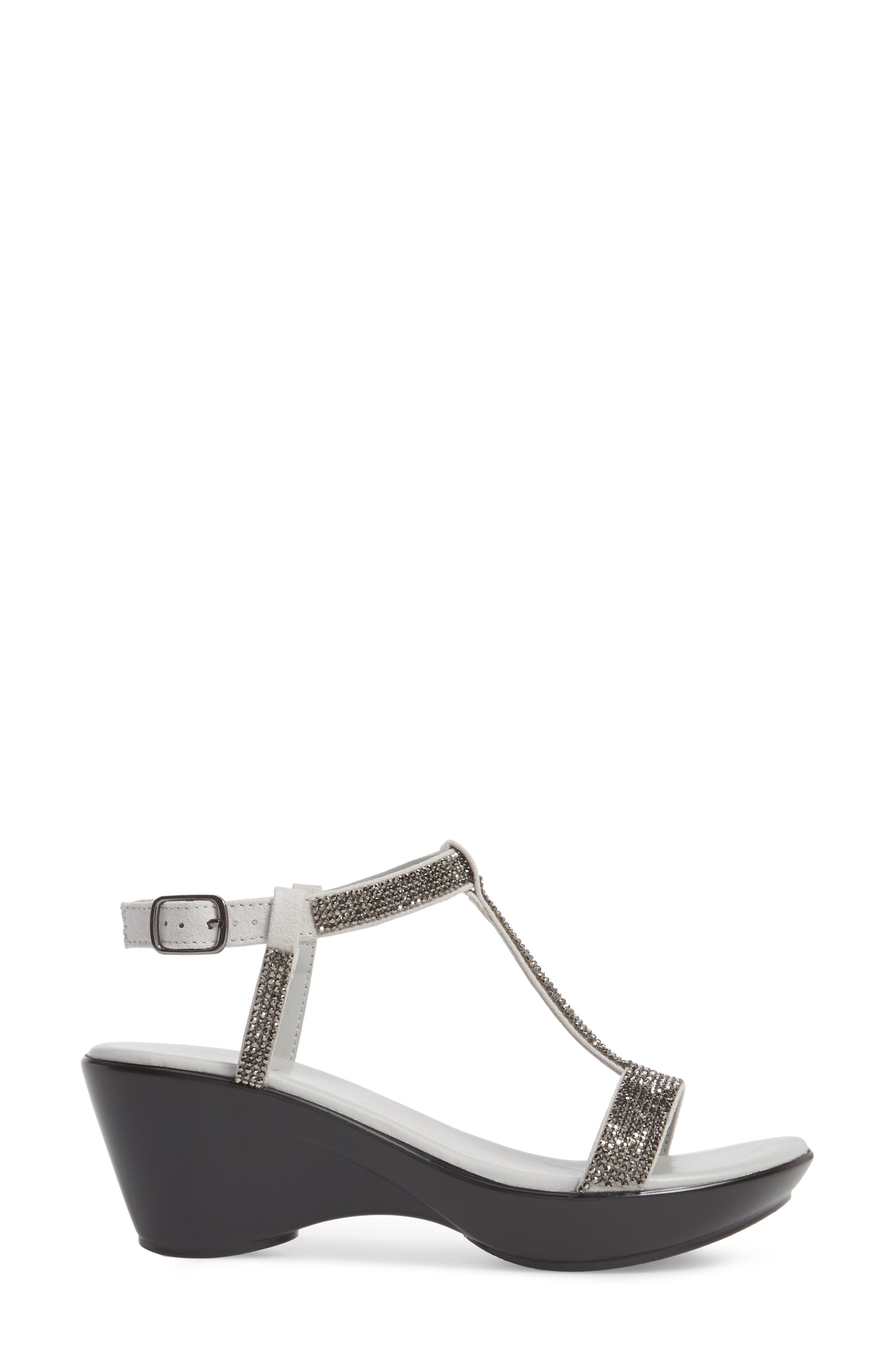 Athena Alexandar Karinya Embellished Strappy Wedge Sandal,                             Alternate thumbnail 3, color,                             Grey Suede