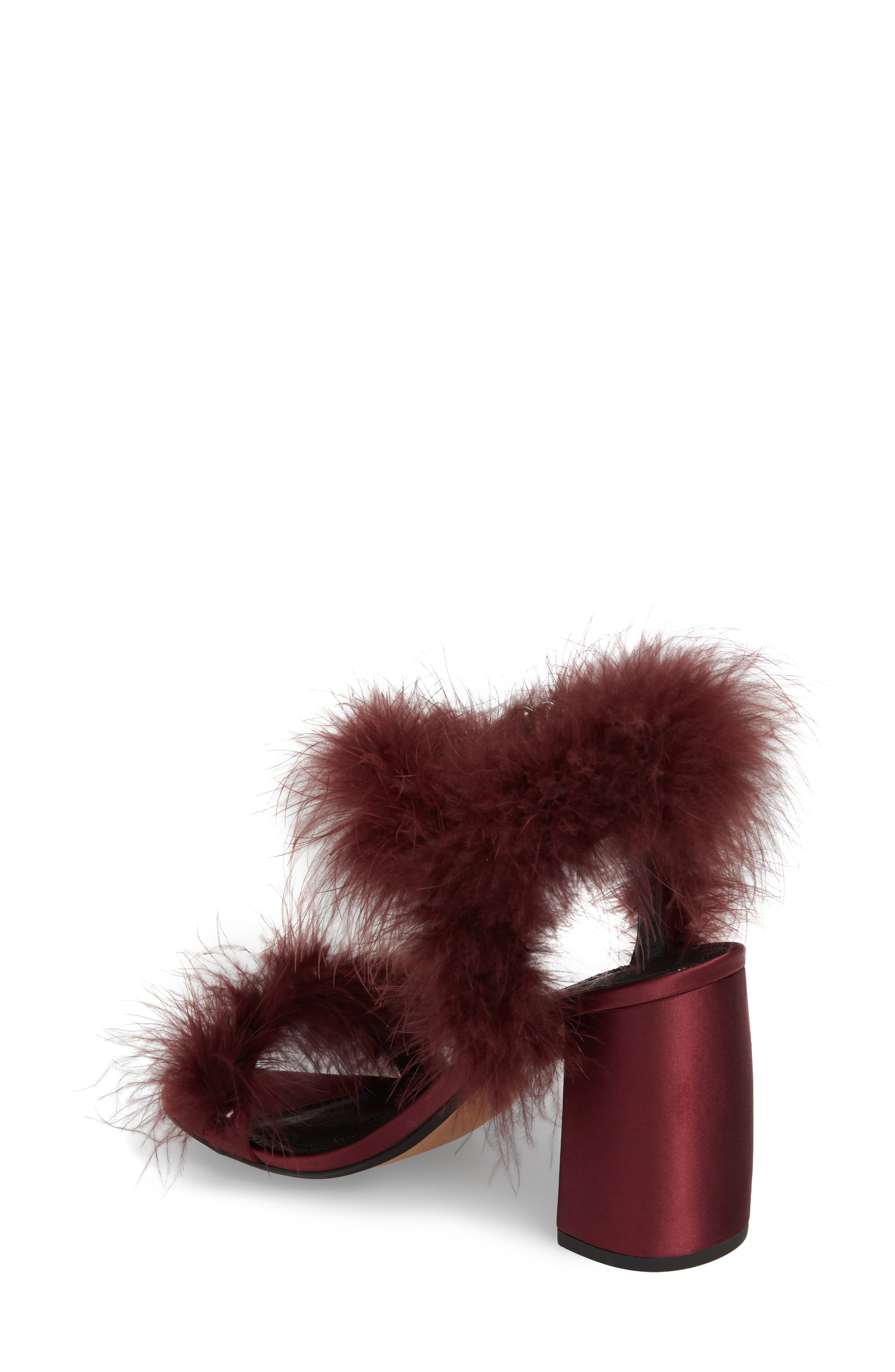 Maribou Feather Sandal,                             Alternate thumbnail 2, color,                             Burgundy