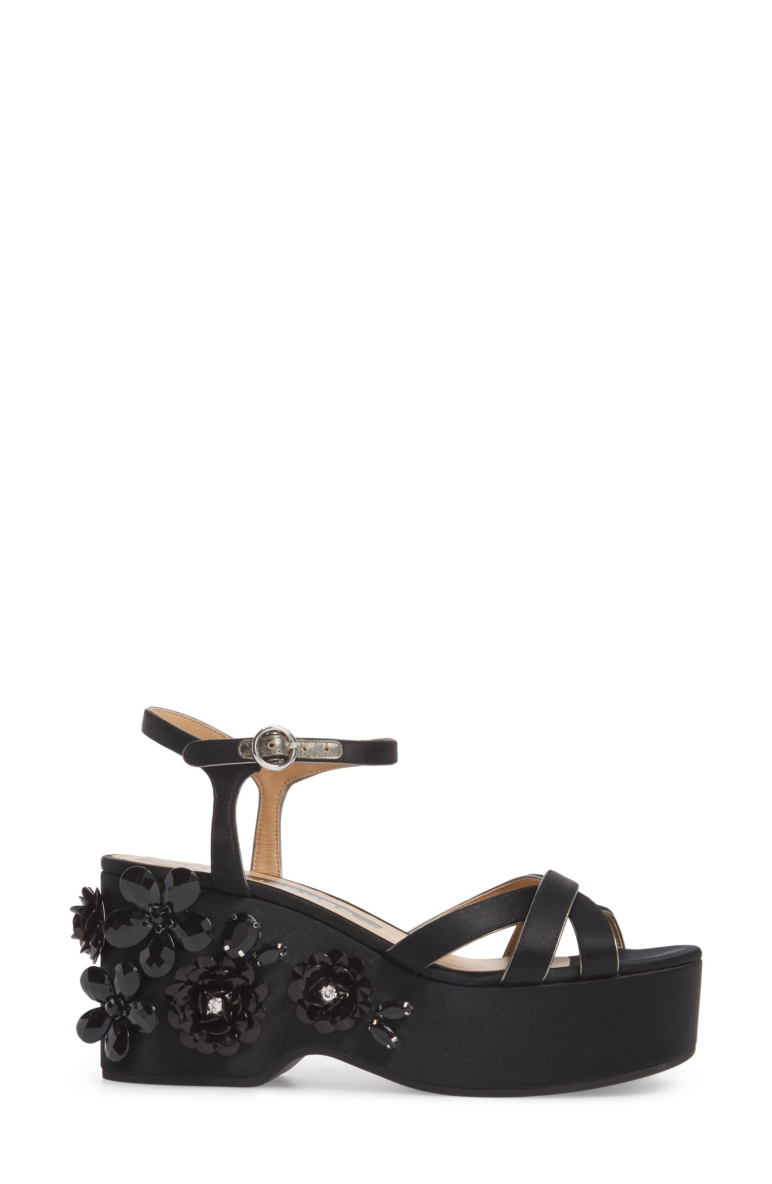 Callie Embellished Platform Sandal,                             Alternate thumbnail 3, color,                             Black