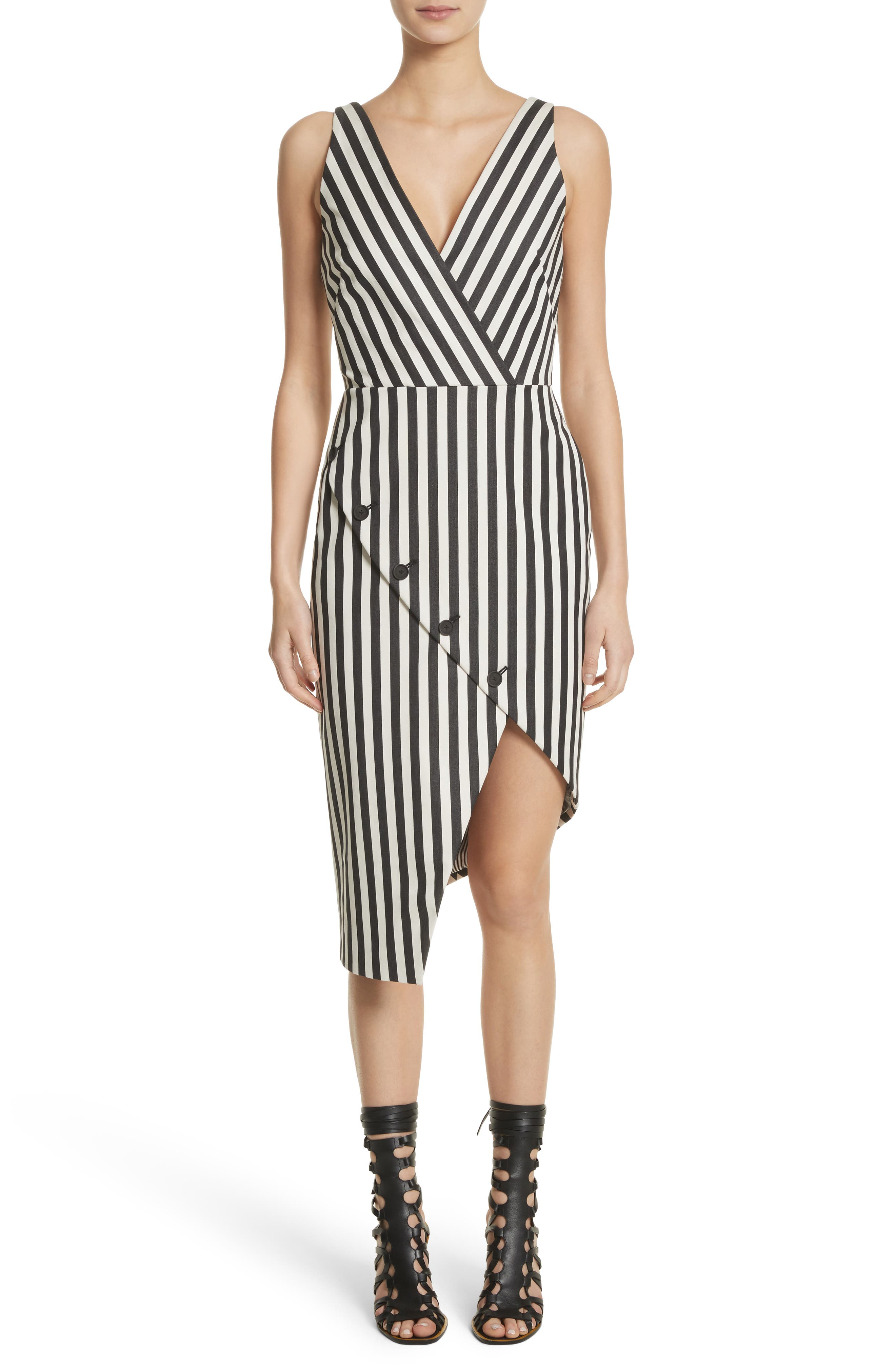 Altuzarra Asymmetrical Button Hem Stripe Dress