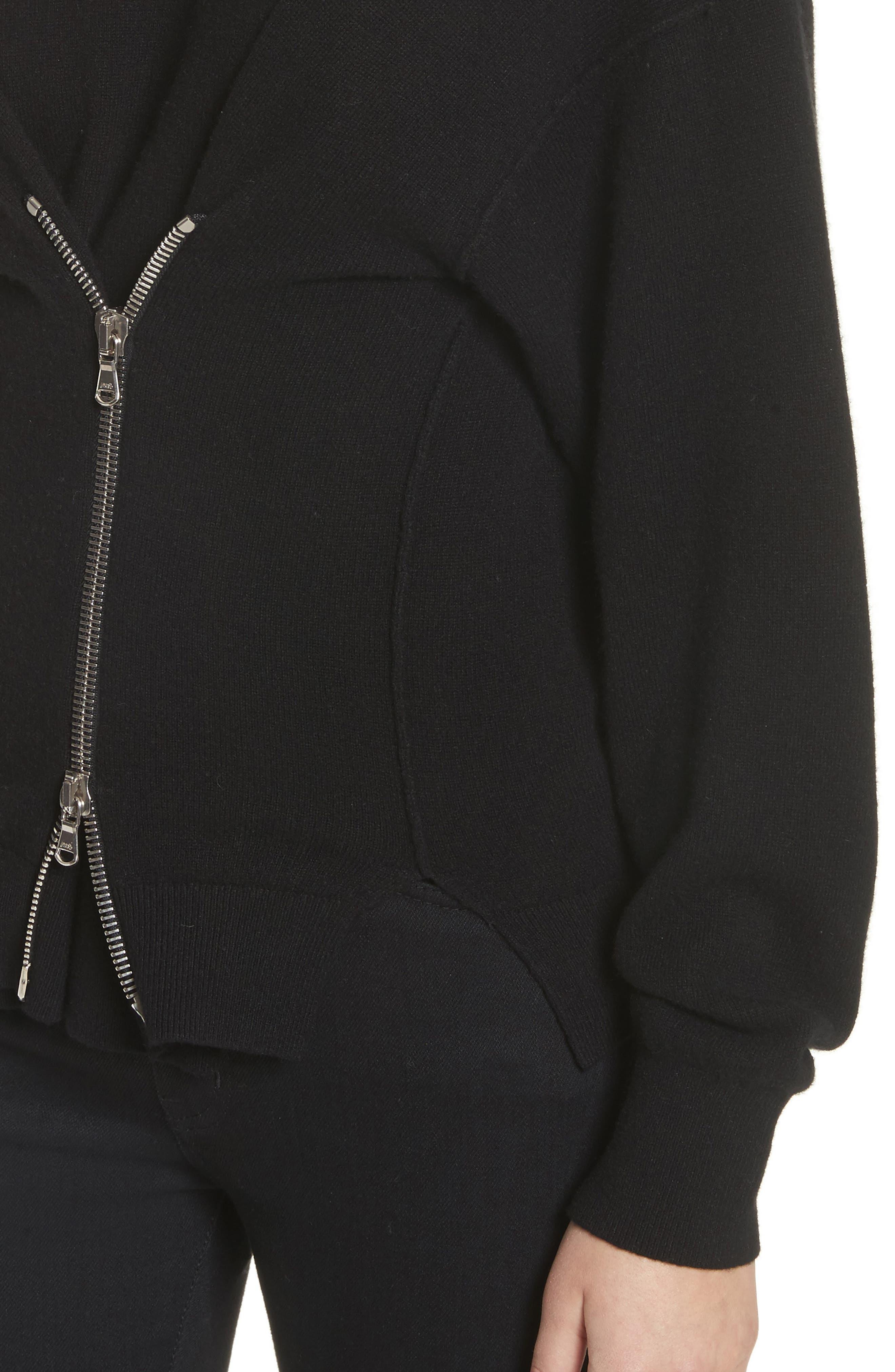 Zip Front Wool & Cashmere Blend Sweater,                             Alternate thumbnail 4, color,                             Black