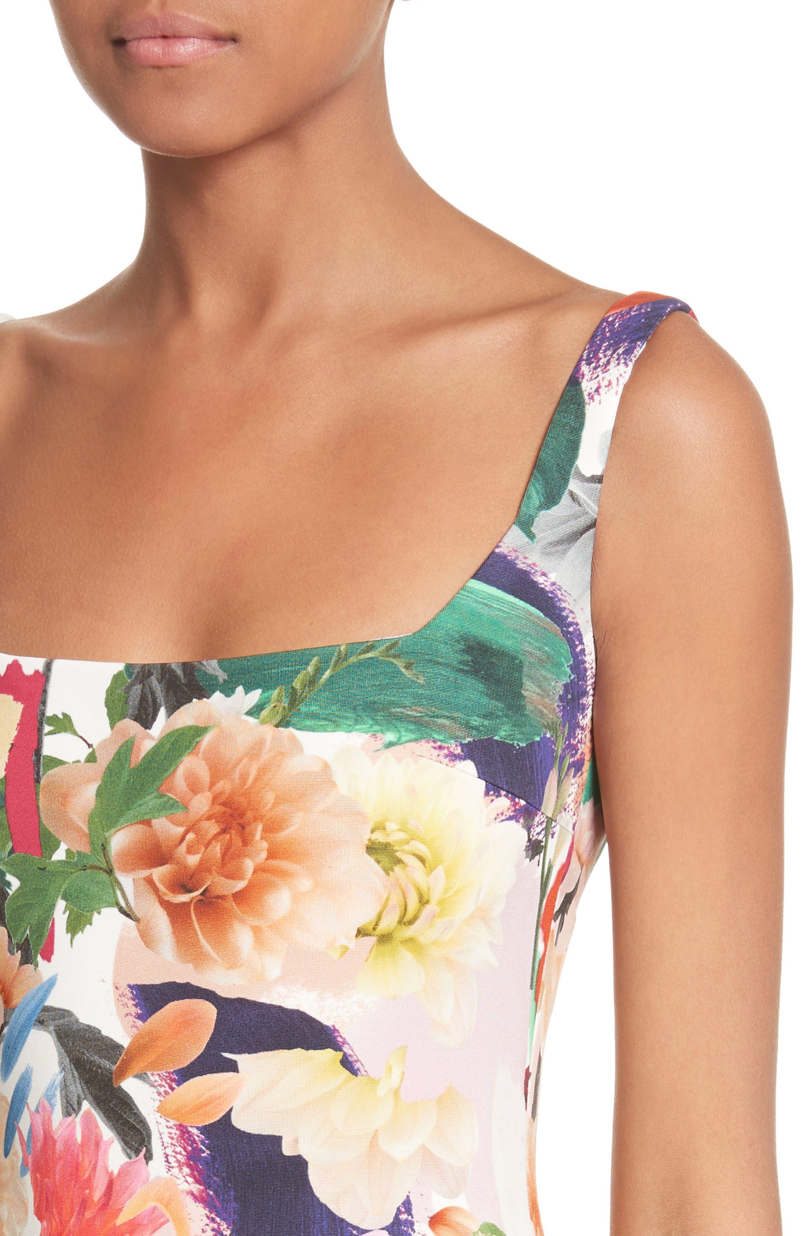 Floral Print Sheath Gown,                             Alternate thumbnail 4, color,                             Surrealist Floral