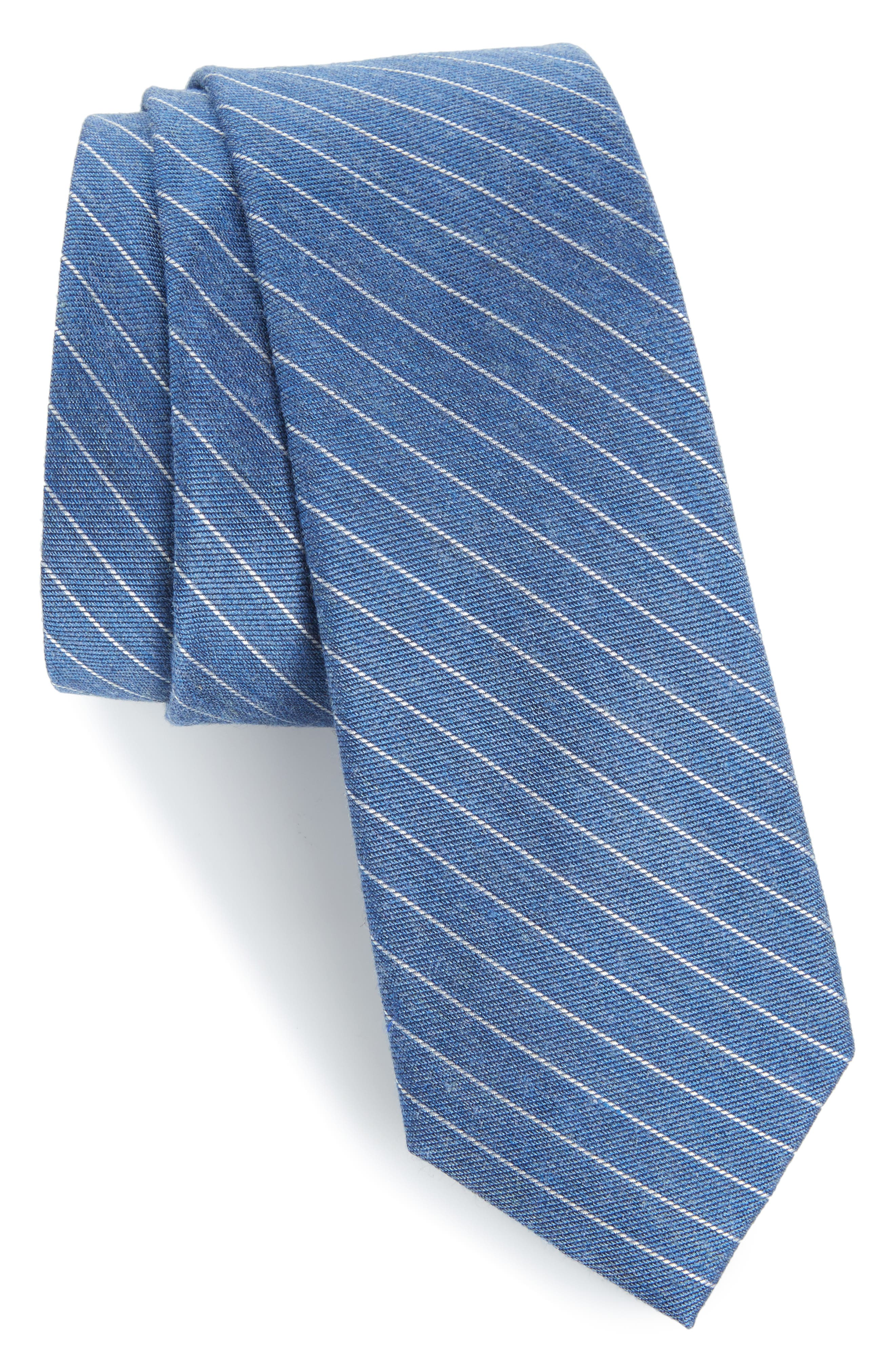 Stripe Silk Blend Skinny Tie,                         Main,                         color, Sky Blue