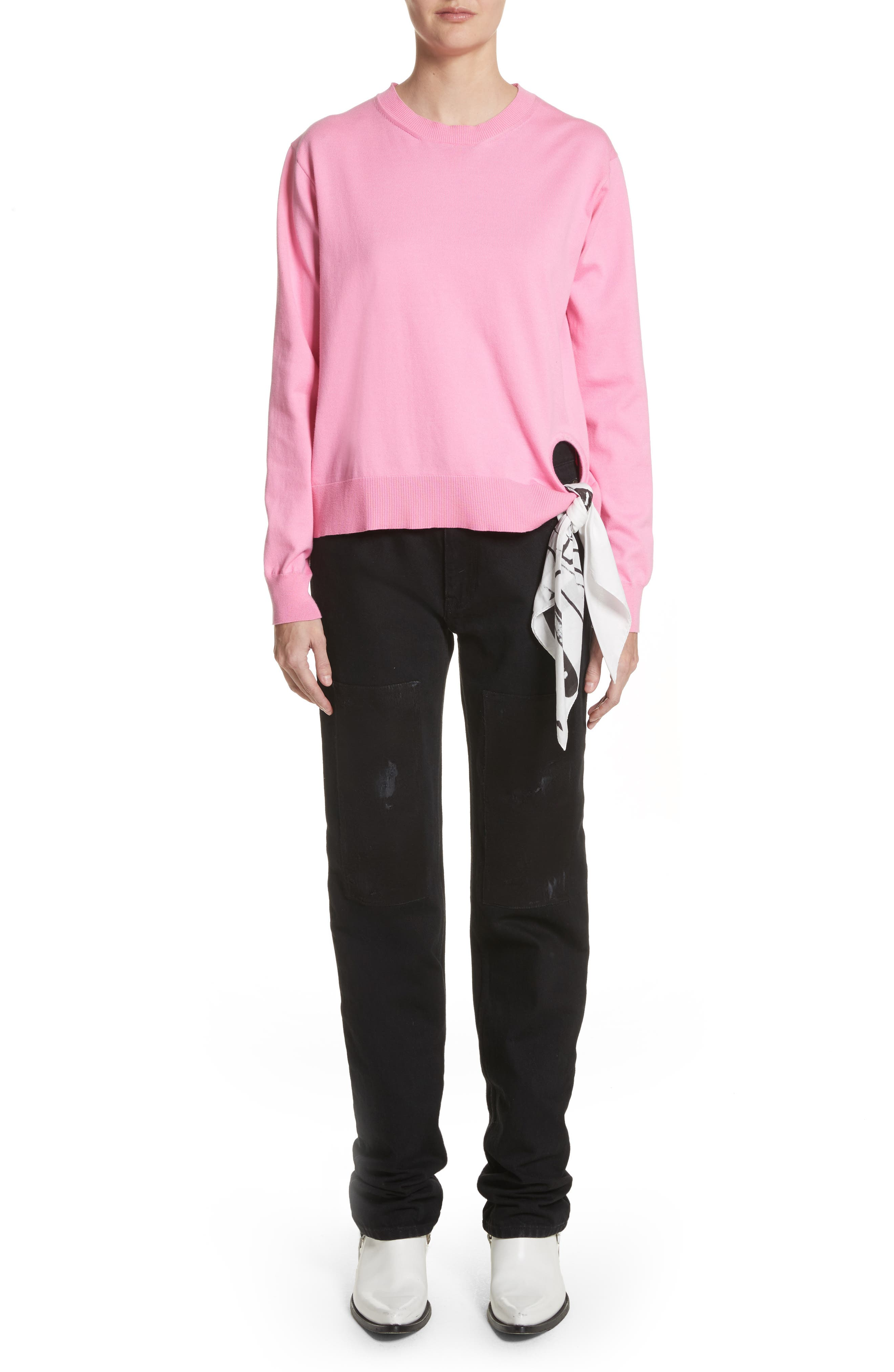 Scarf Hem Sweater,                             Alternate thumbnail 2, color,                             Rose Bloom