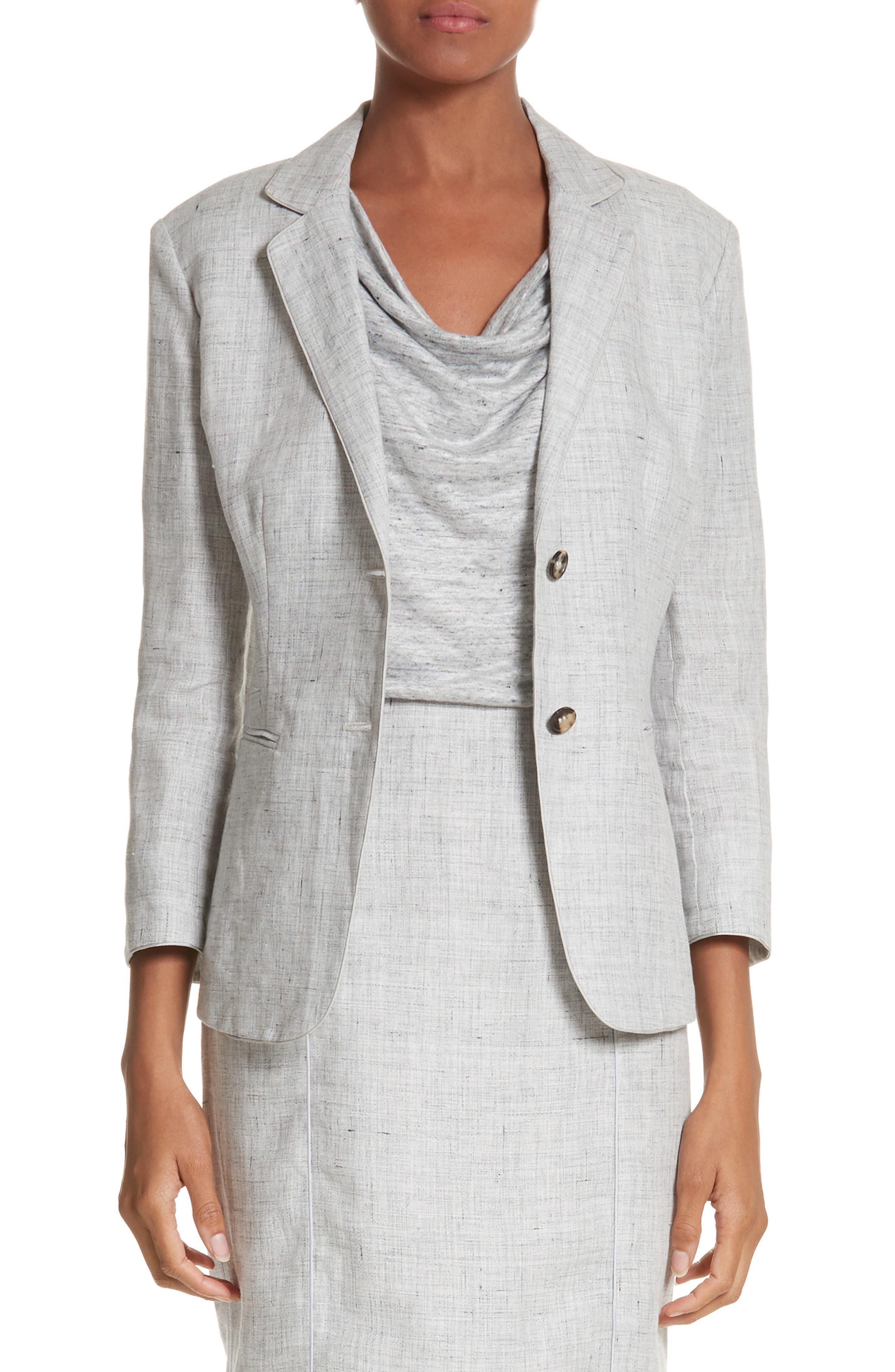 Vello Linen Blazer,                         Main,                         color, Light Grey