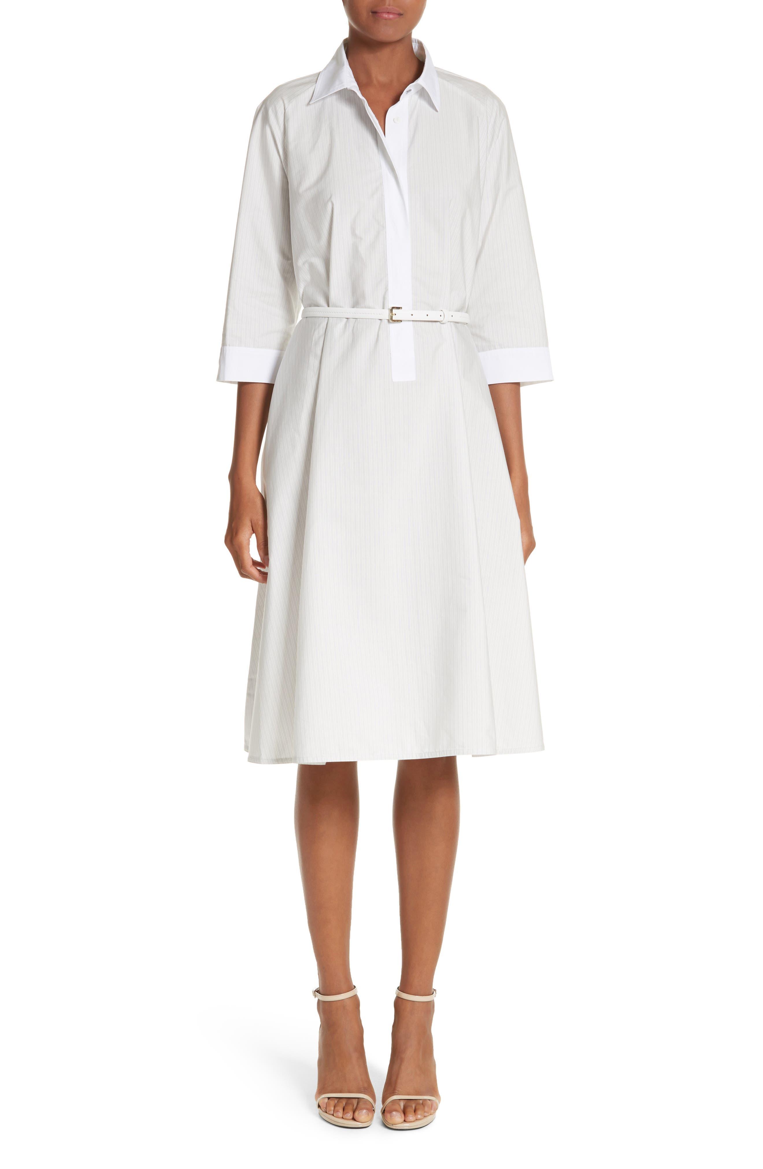 Parola Cotton Shirtdress,                         Main,                         color, Light Grey